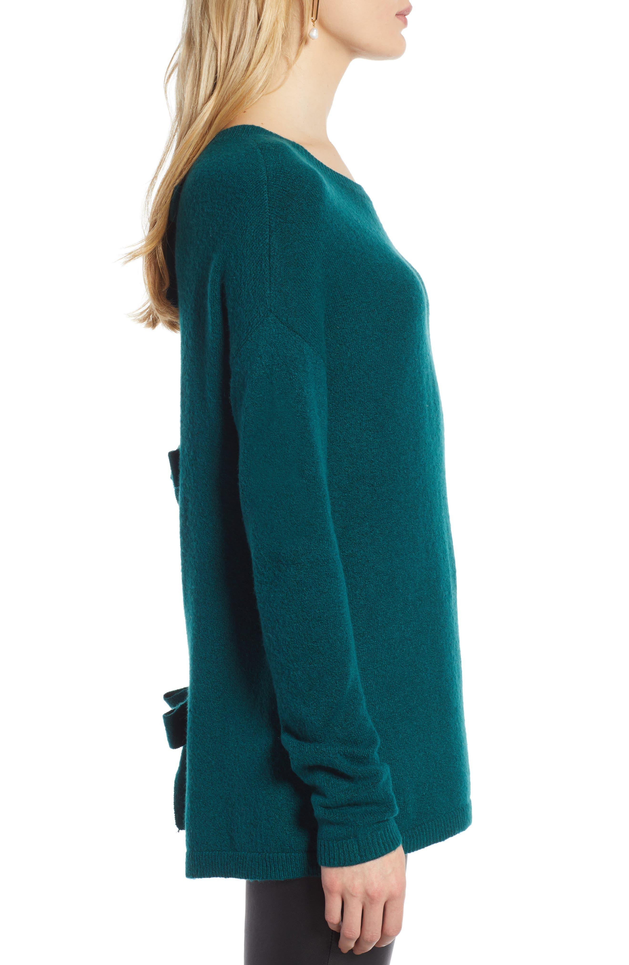 Bow Back Sweater,                             Alternate thumbnail 3, color,                             GREEN BOTANICAL