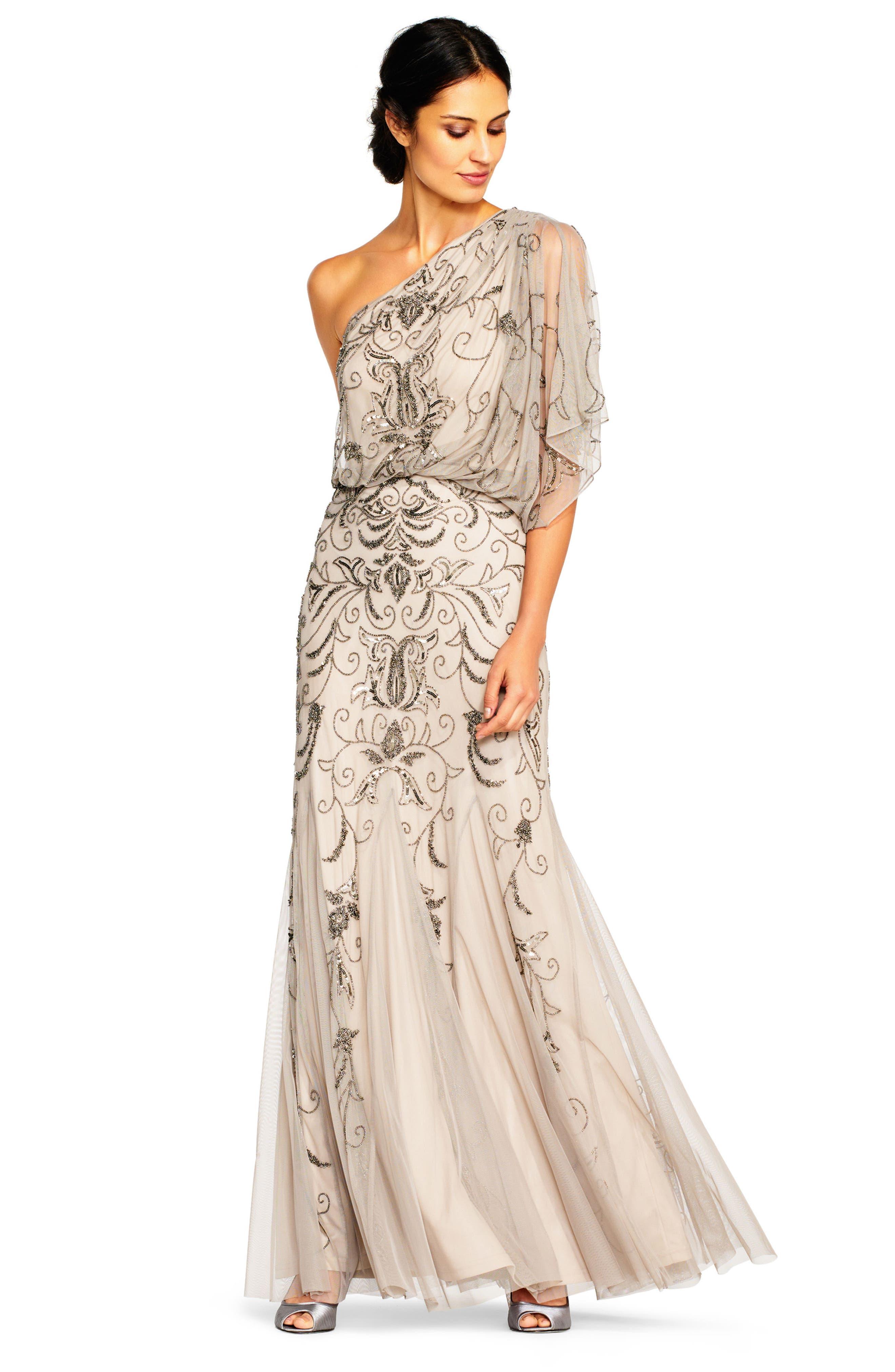 Beaded One-Shoulder Blouson Gown,                             Alternate thumbnail 6, color,                             036