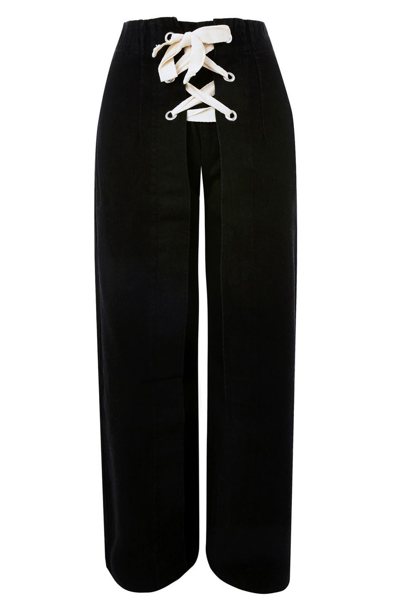 Lace-Up Wide Leg Crop Jeans,                             Alternate thumbnail 4, color,