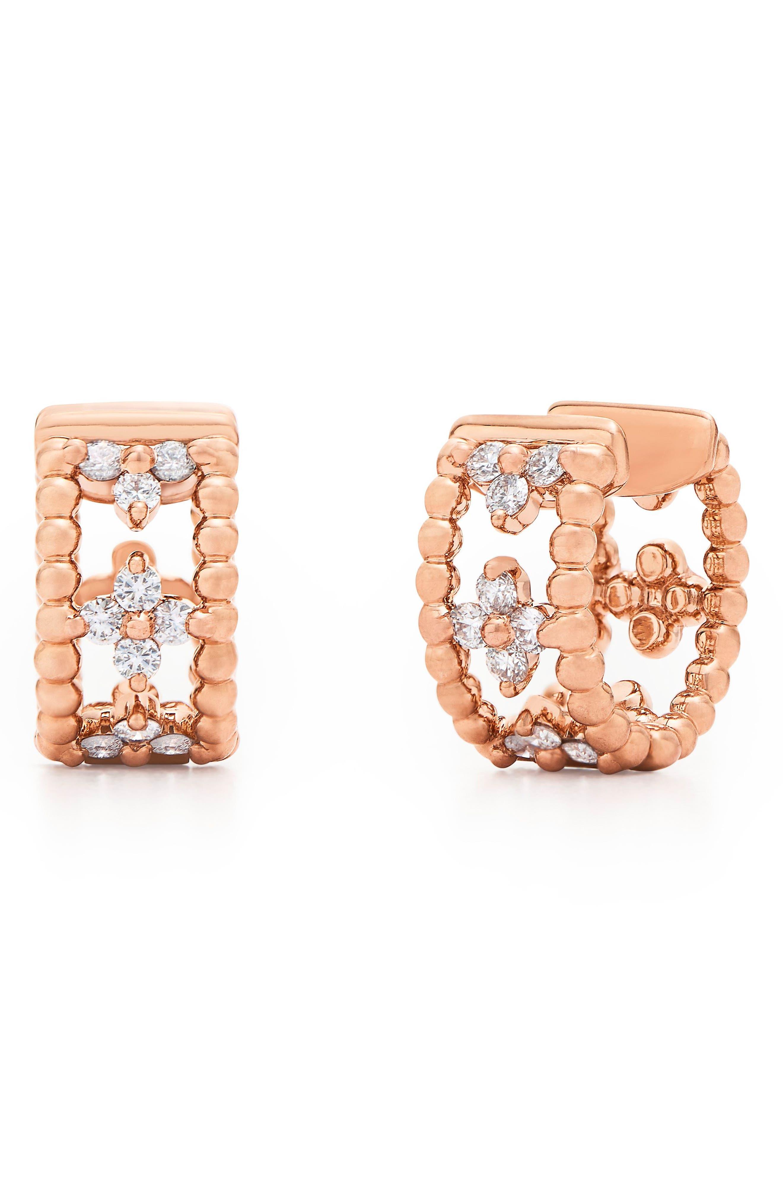 KWIAT Diamond Hoop Earrings, Main, color, 712