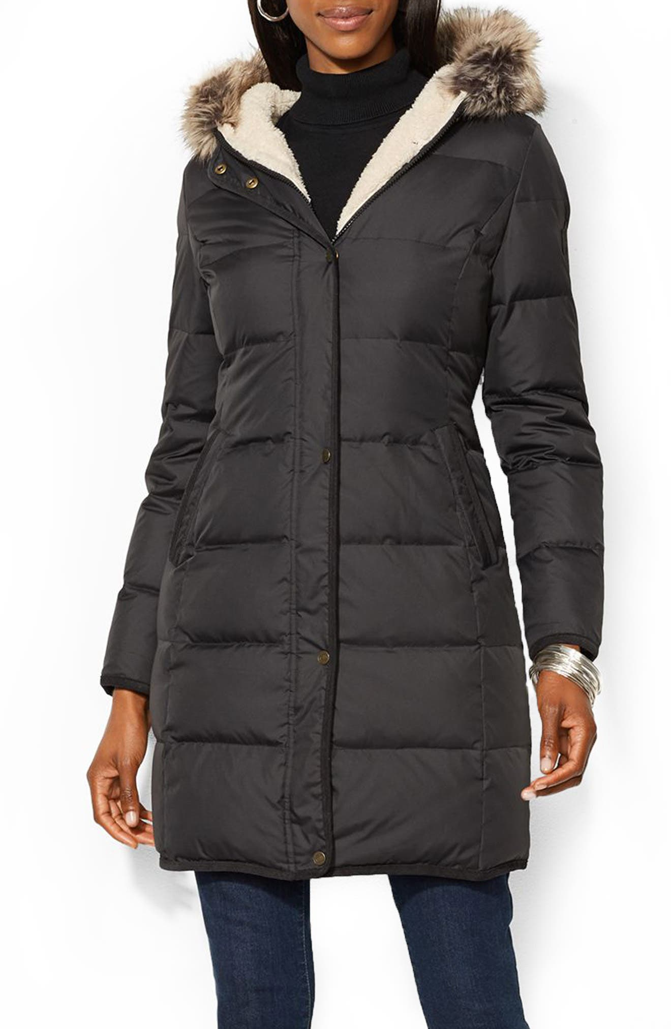Quilted Down & Feather Jacket with Faux Fur Trim,                         Main,                         color, 001