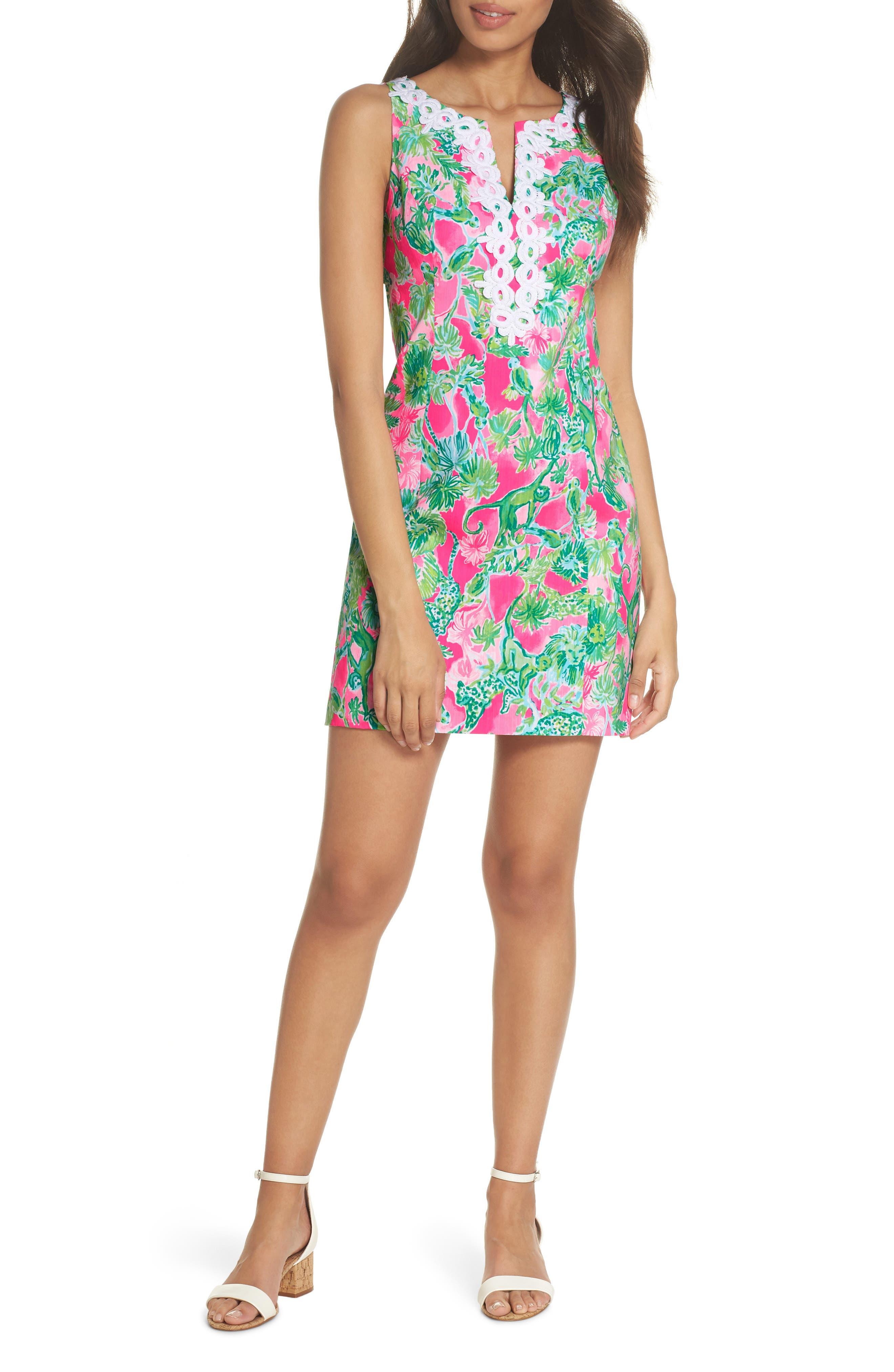 Gabby Tropical Print Dress,                         Main,                         color, RAZ BERRY CATTY SHACK