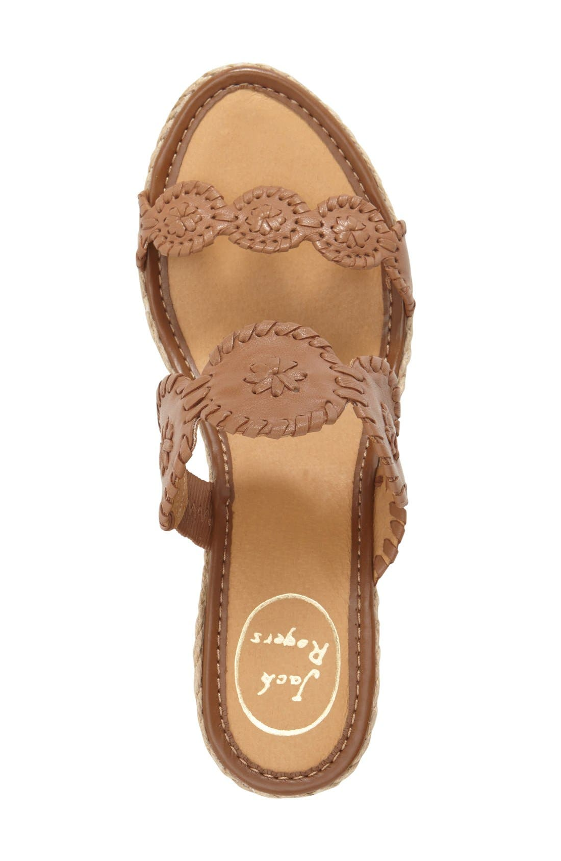 'Shelby' Whipstitched Wedge Sandal,                             Alternate thumbnail 3, color,                             COGNAC