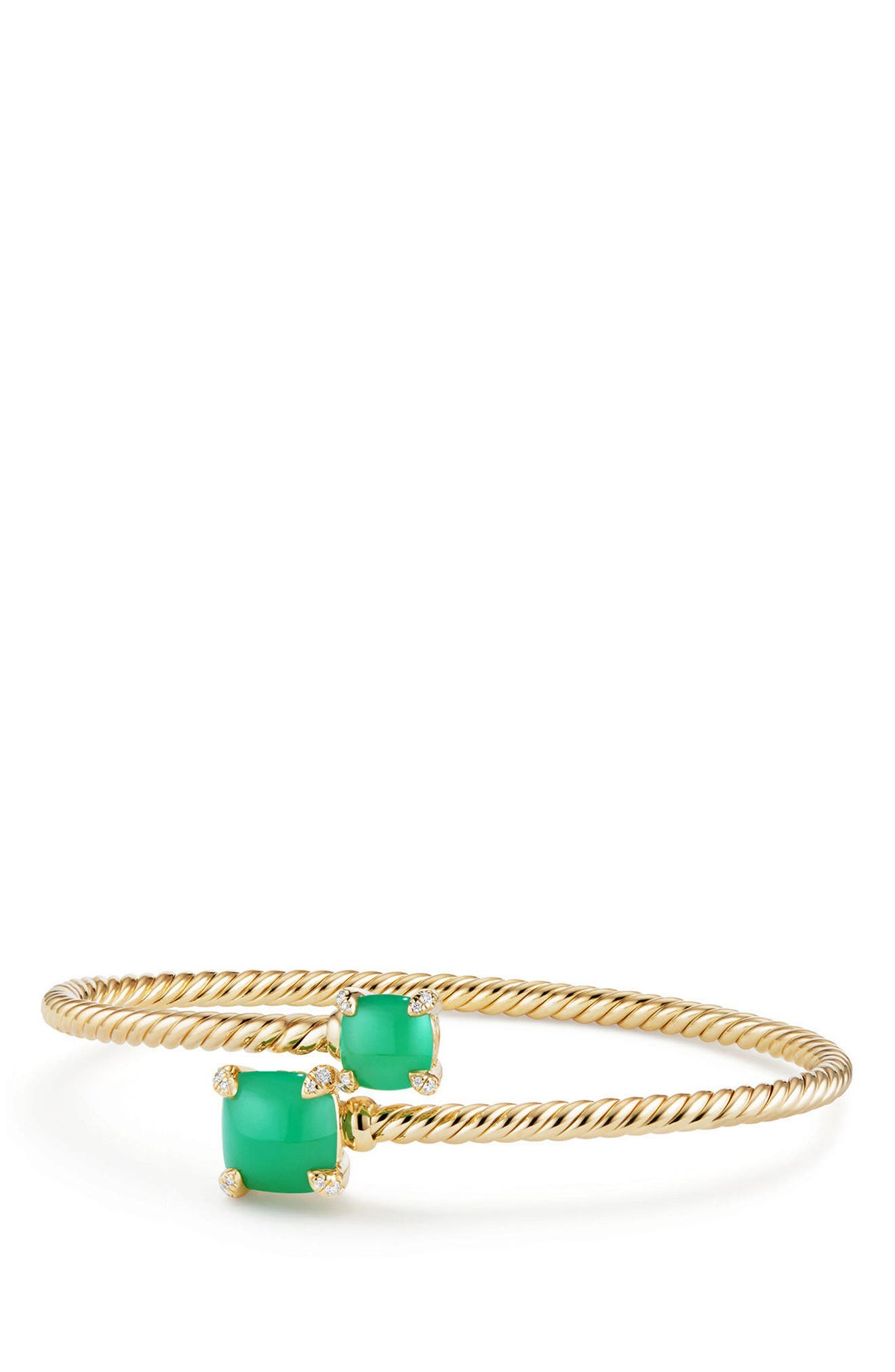 Châtelaine Bypass Bracelet with Semiprecious Stone & Diamonds in 18K Gold,                         Main,                         color, CHRYSOPRASE