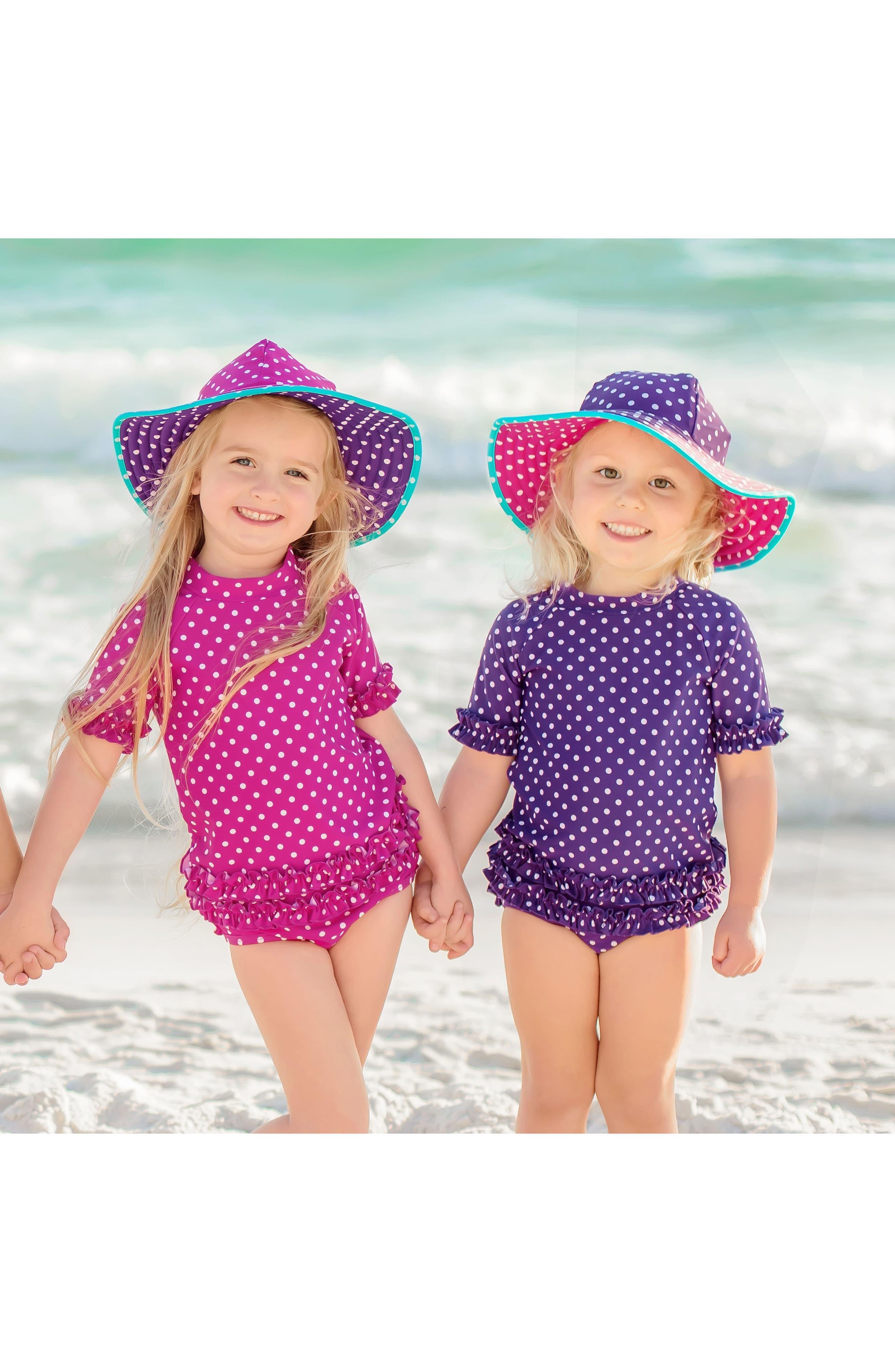 Two-Piece Rashguard Swimsuit & Hat Set,                             Alternate thumbnail 3, color,                             500