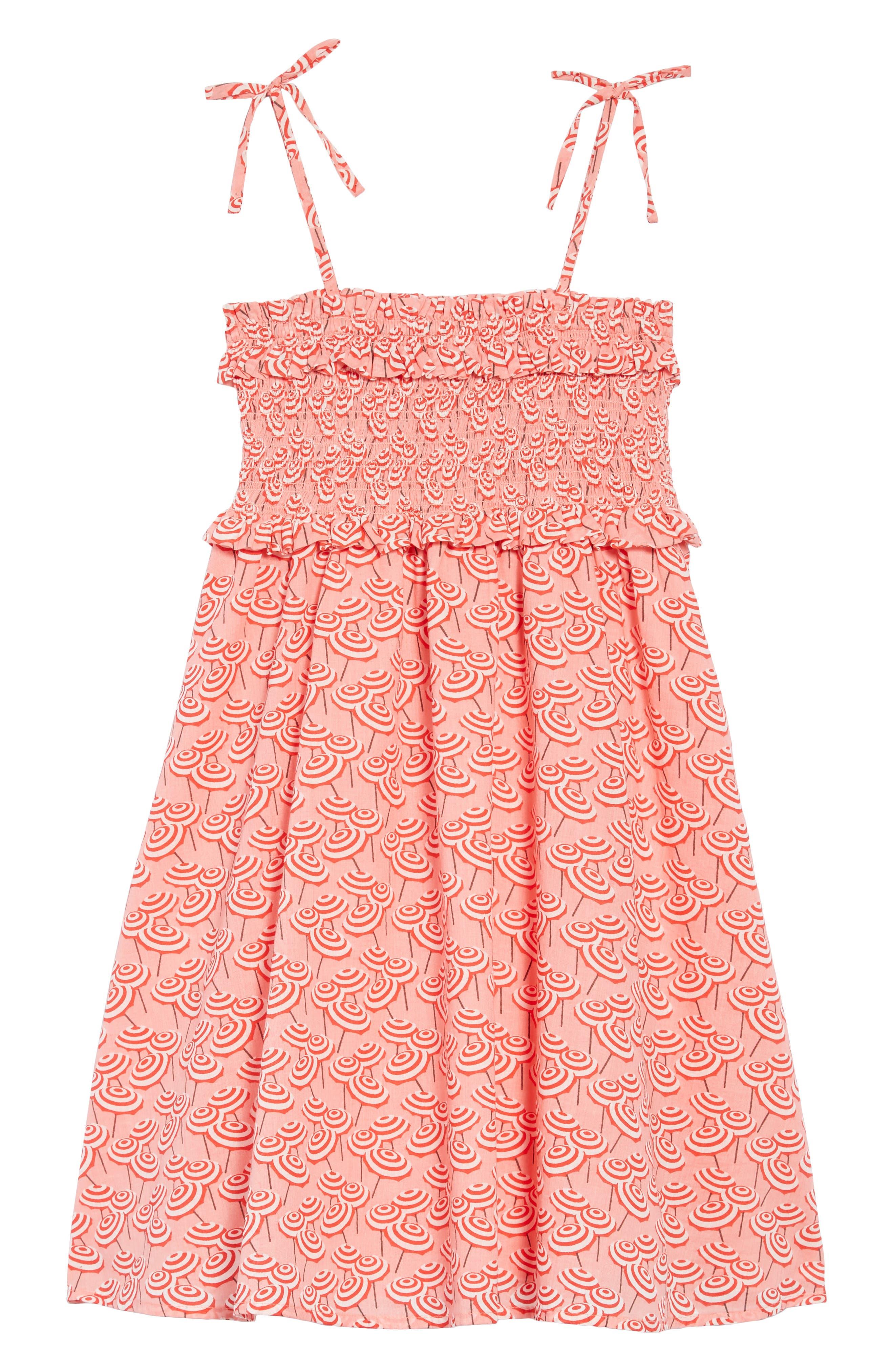 Umbrella Print Smocked Bodice Dress,                         Main,                         color, 600
