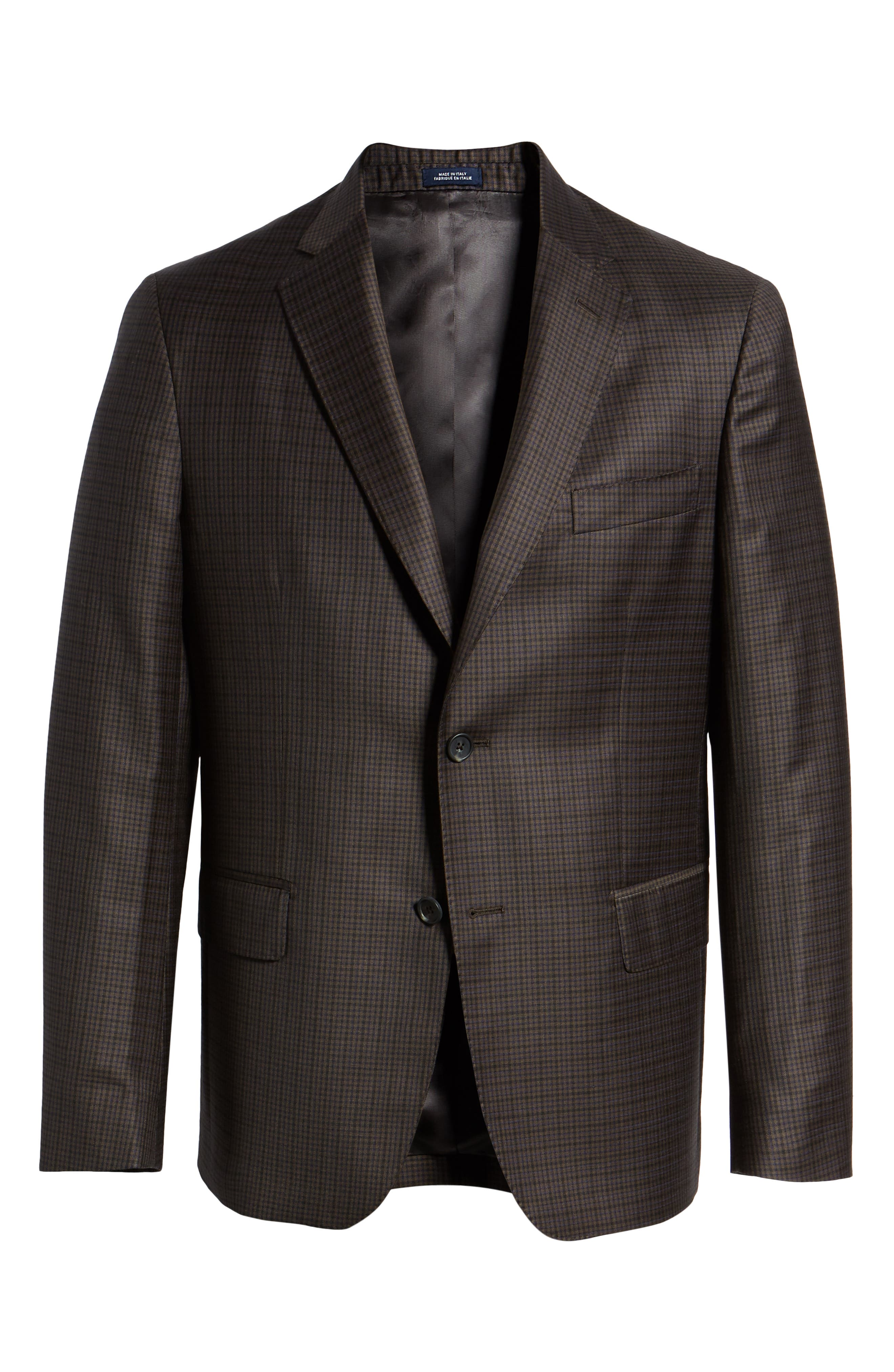 Traditional Fit Check Wool Sport Coat,                             Alternate thumbnail 5, color,                             BROWN