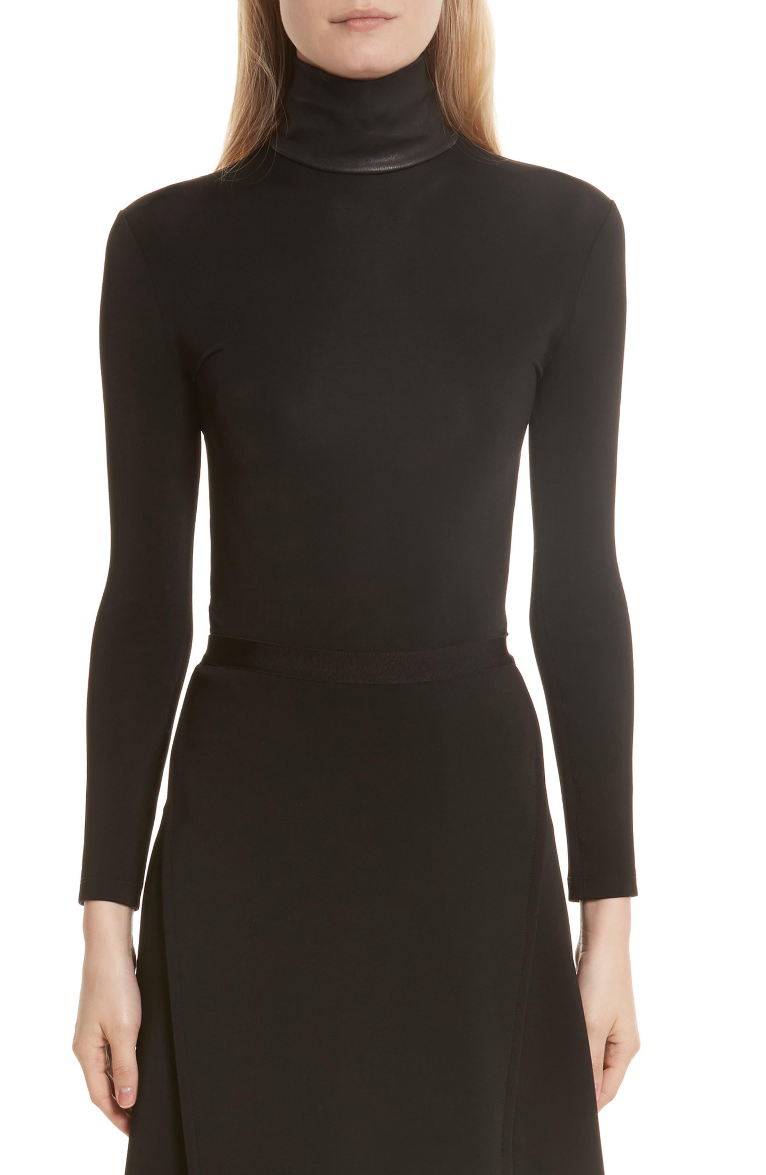 Bondage Jersey Leather Neck Top,                         Main,                         color, 001