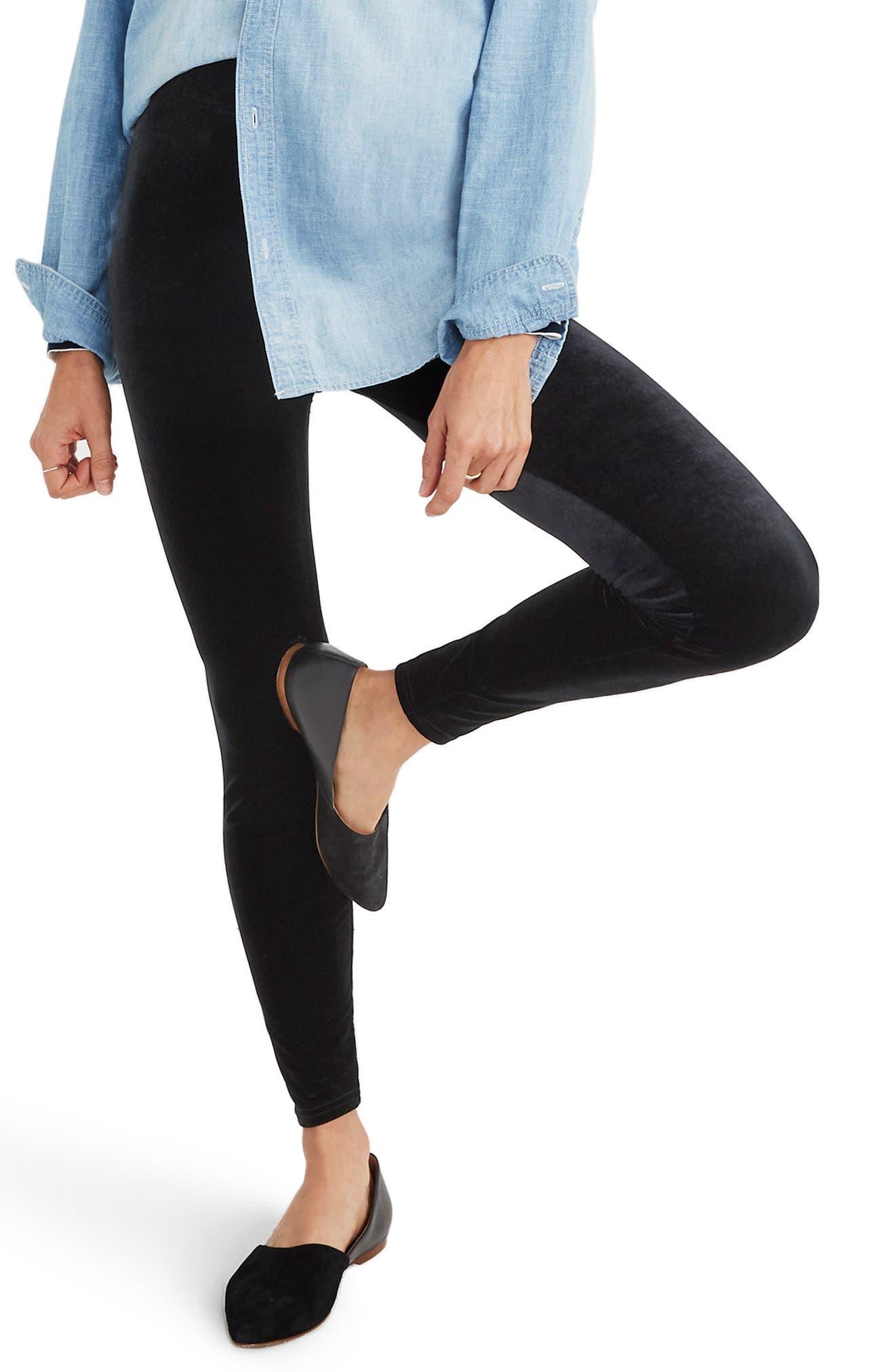 Madewell High Rise Velvet Leggings, Black