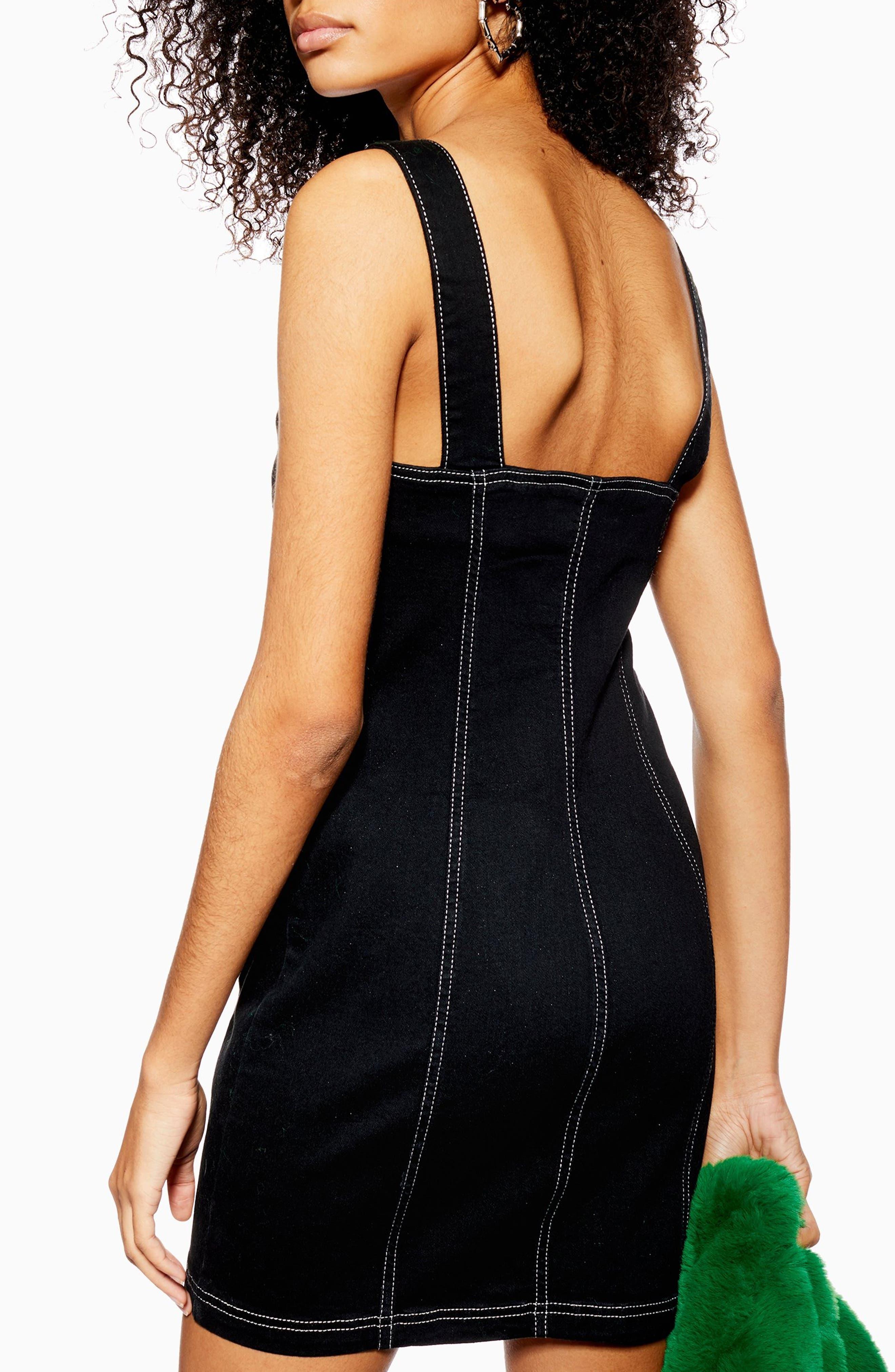 TOPSHOP,                             Stretch Denim Zip Dress,                             Alternate thumbnail 2, color,                             WASHED BLACK