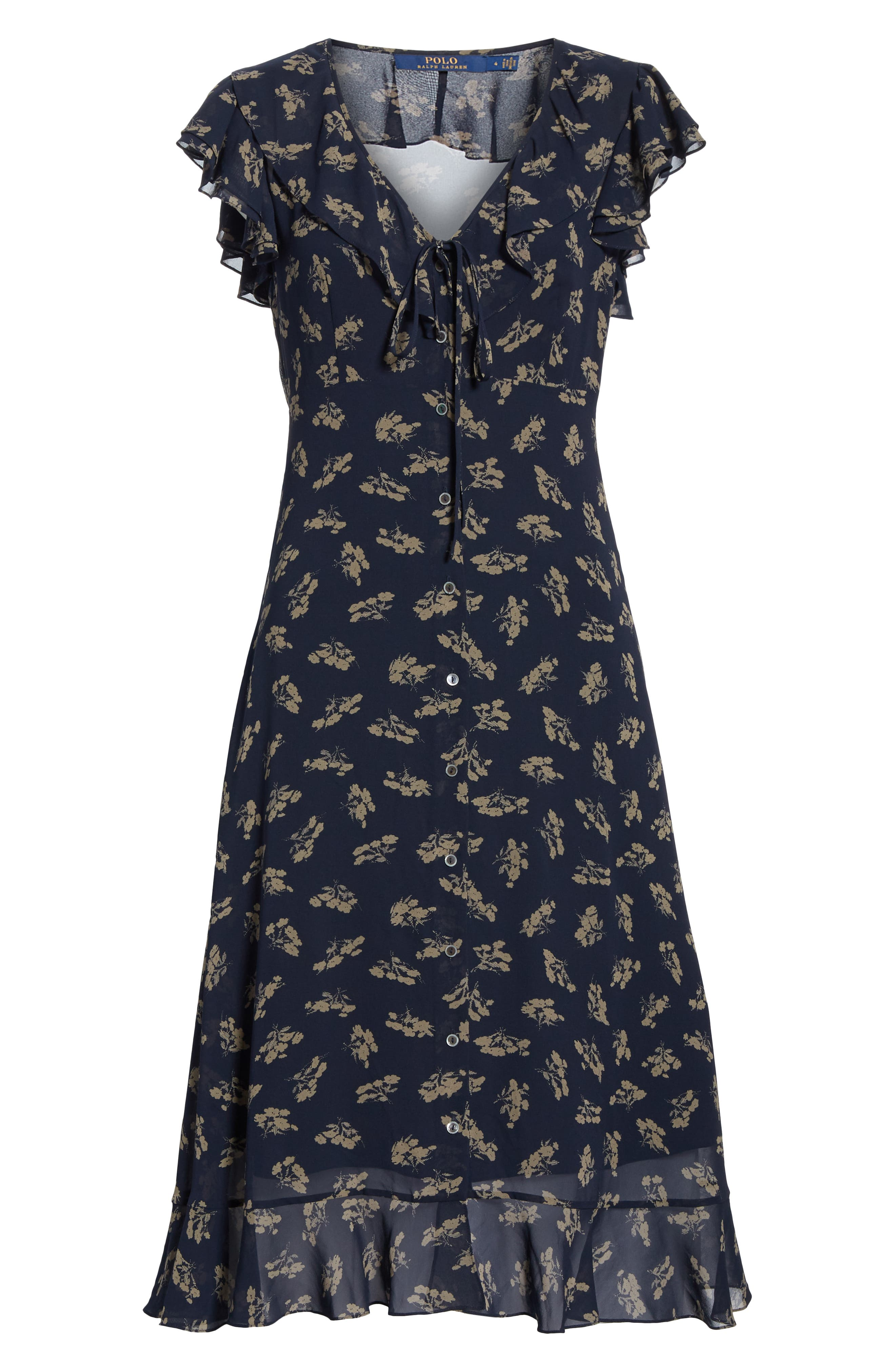 Ruffled Floral Midi Dress,                             Alternate thumbnail 6, color,                             ETCHING FLORAL
