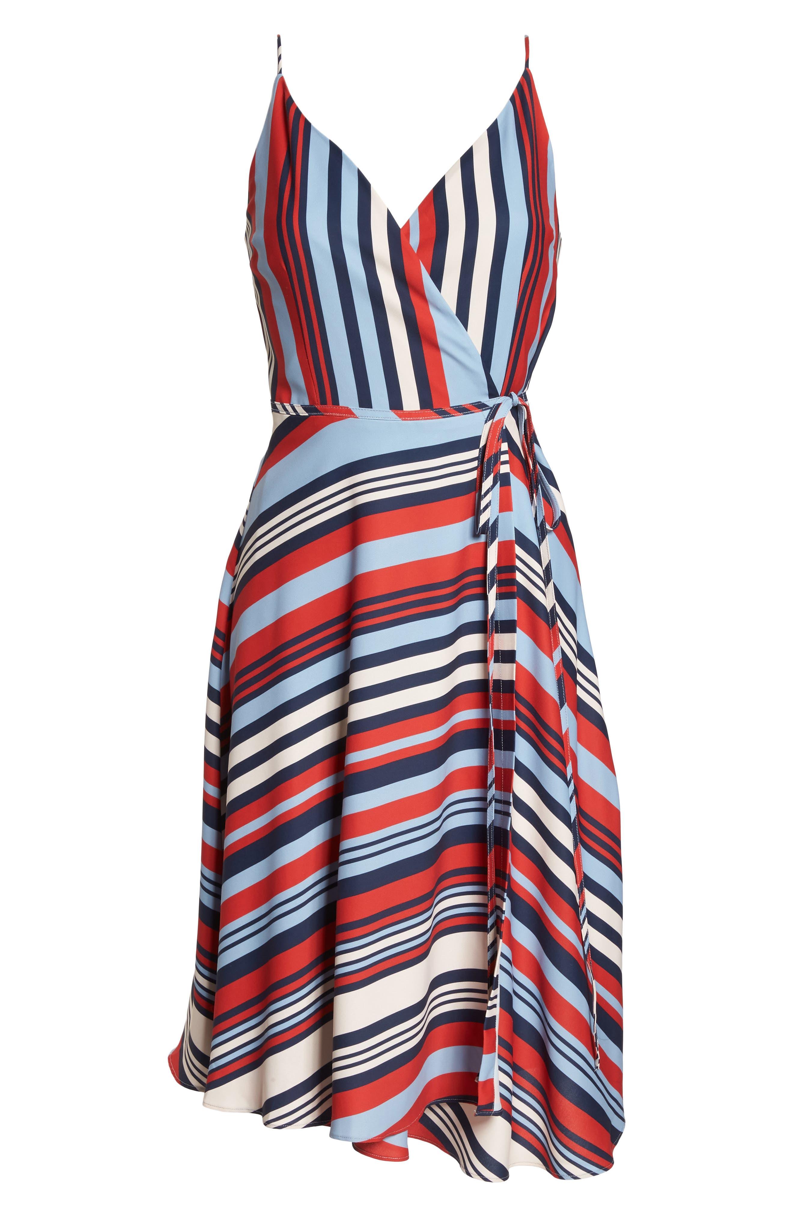 Milan Stripe Wrap Dress,                             Alternate thumbnail 7, color,                             648