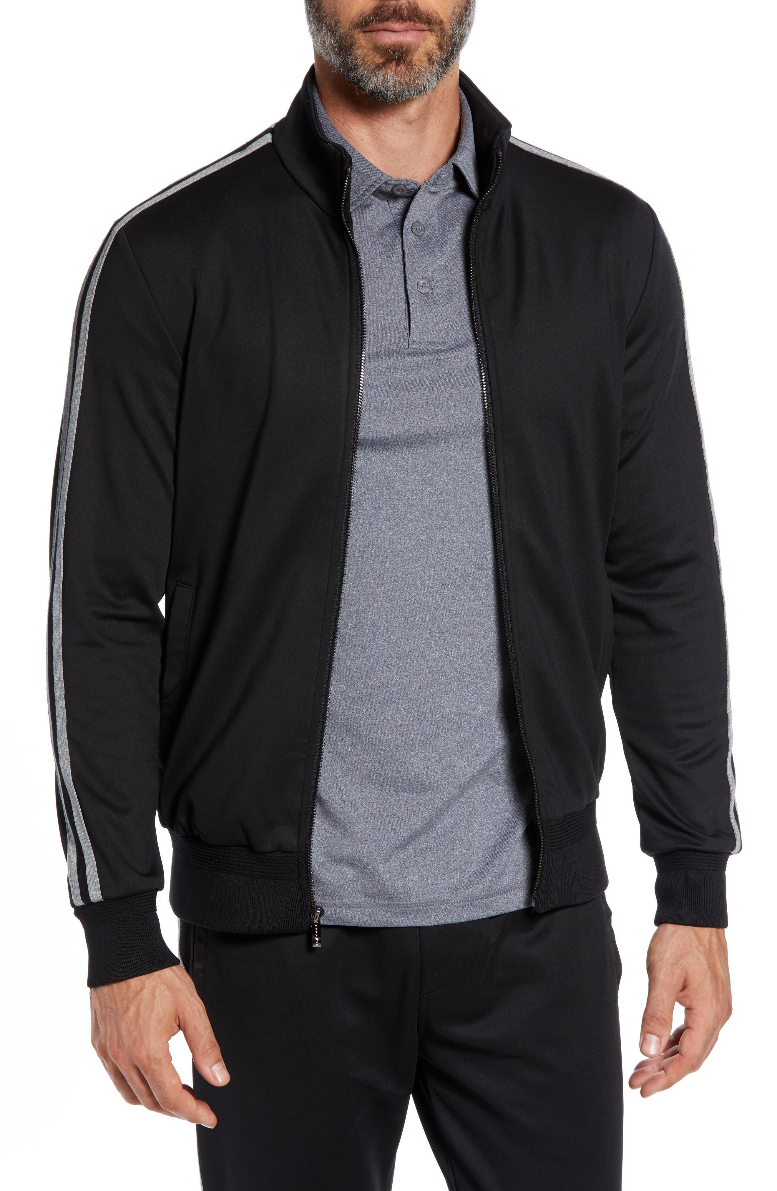 Knit Zip Jacket,                         Main,                         color, BLACK