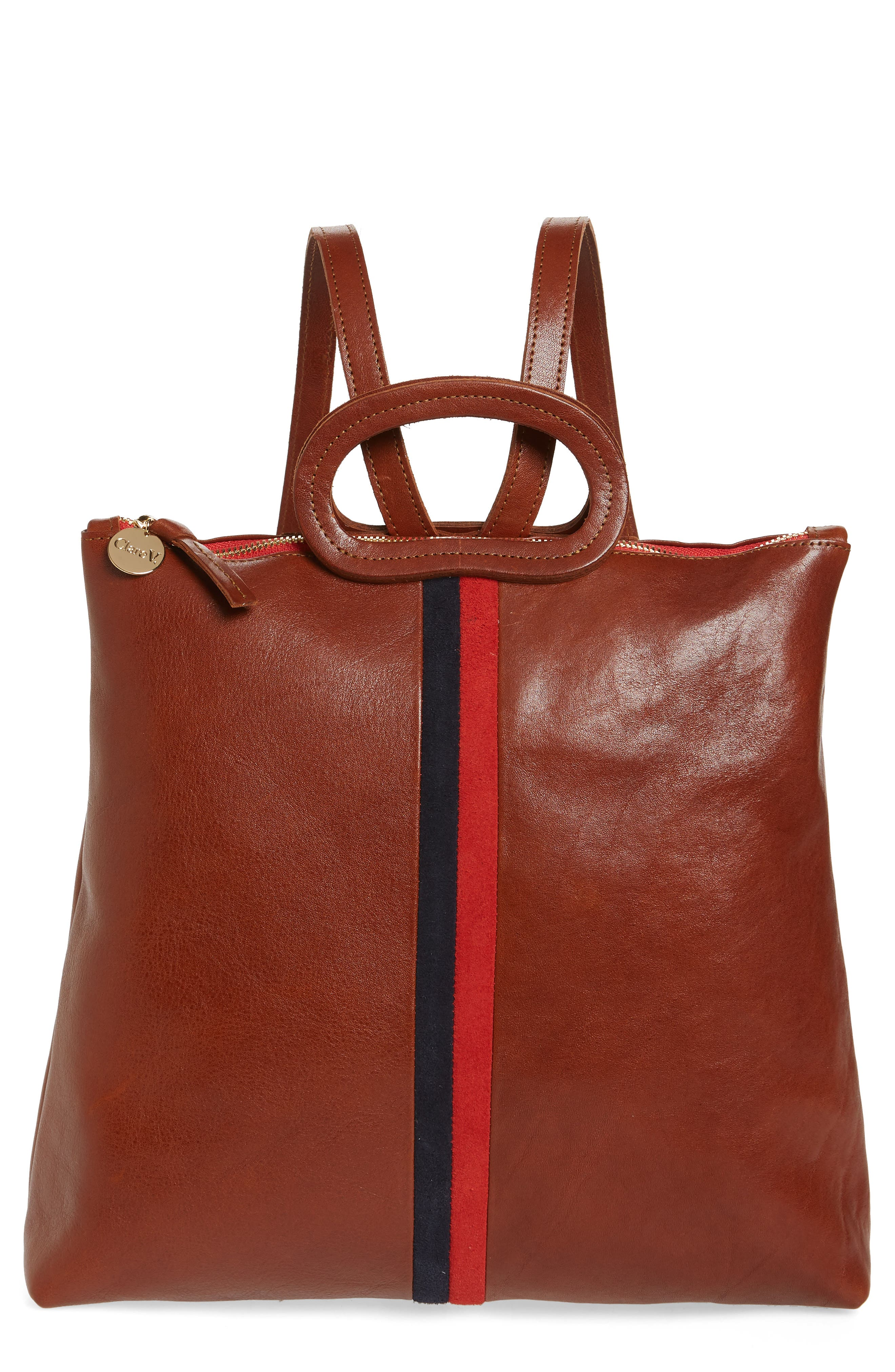 CLARE V Marcelle Leather Backpack - Brown in Brown Rustic With Navy/ Red