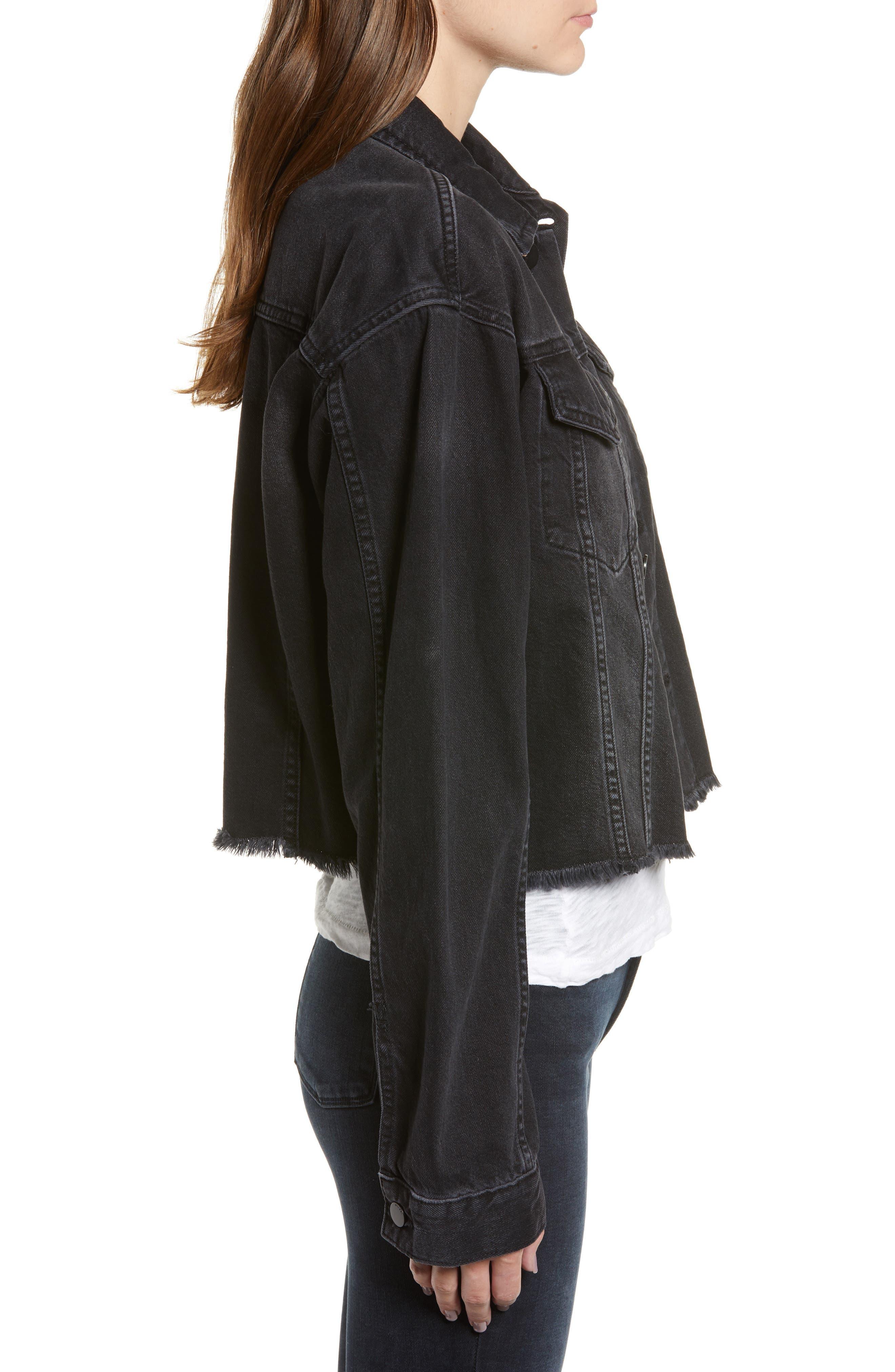 Annie Crop Denim Jacket,                             Alternate thumbnail 3, color,                             BLACKBURN