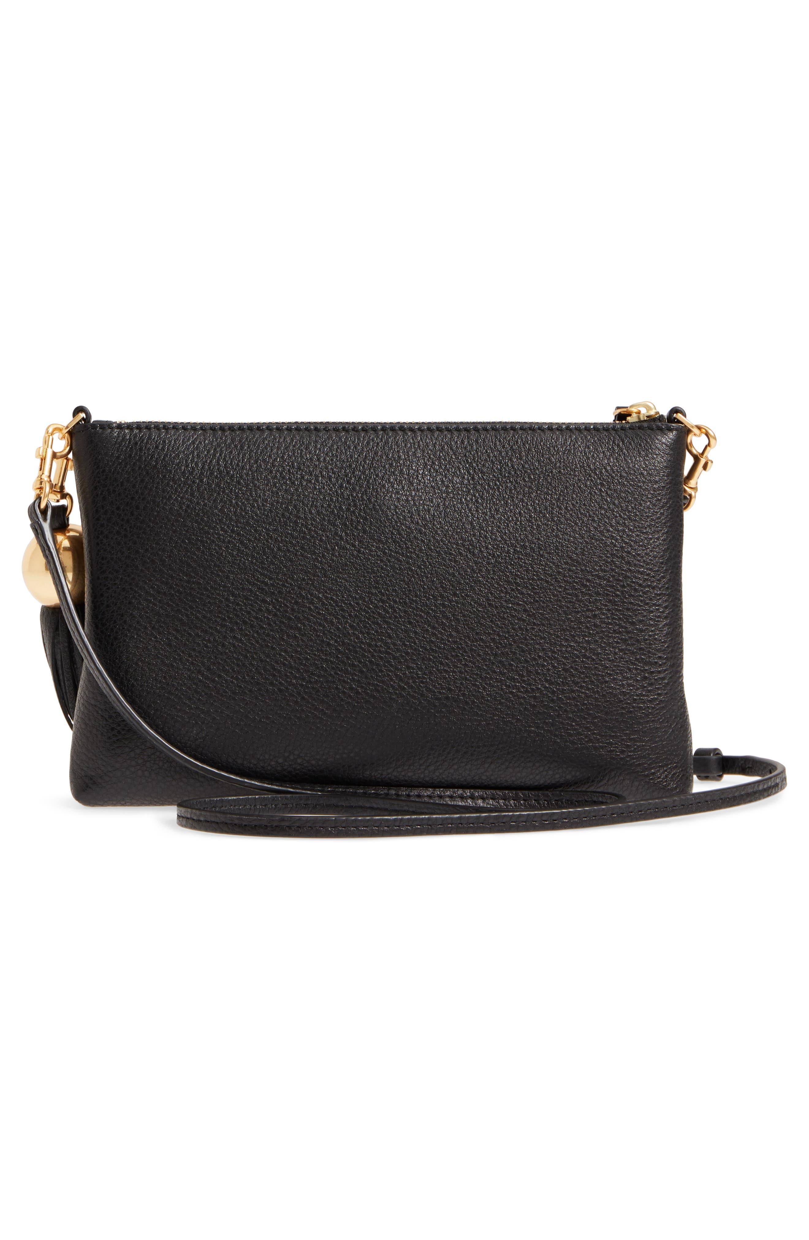 Tassel Leather Crossbody Bag,                             Alternate thumbnail 3, color,                             BLACK