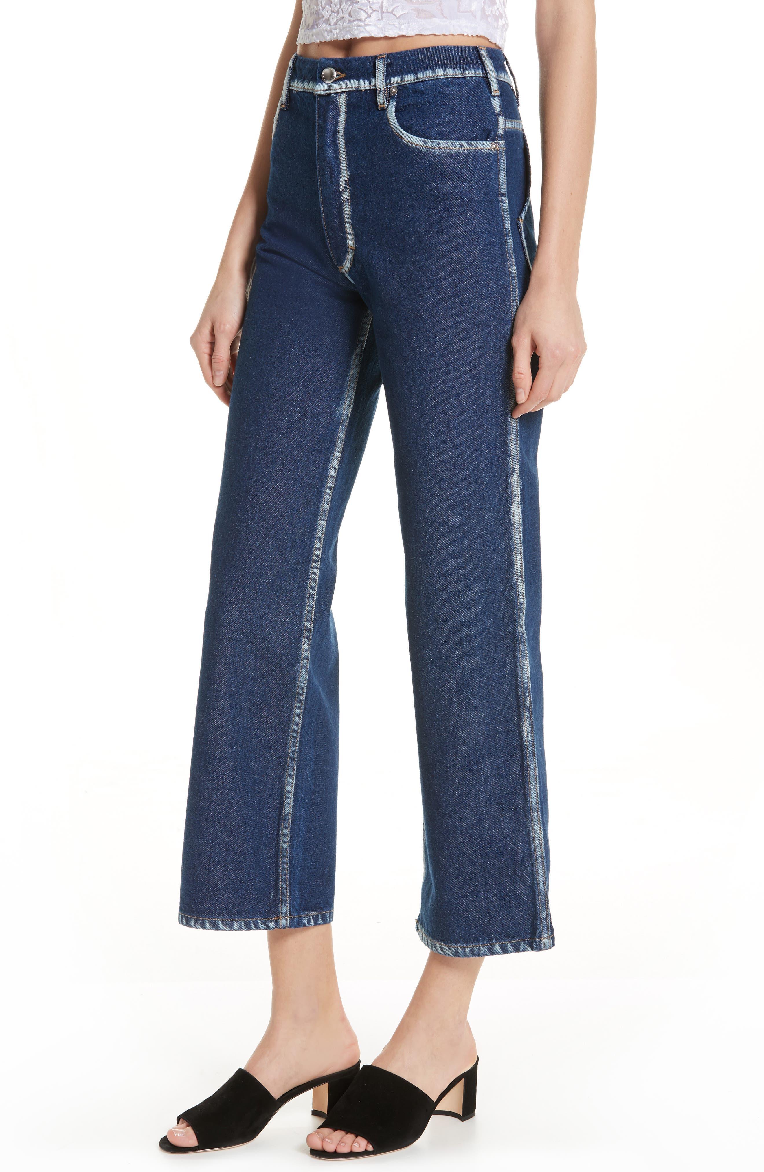 EL Painted Seam Wide Leg Jeans,                             Alternate thumbnail 4, color,                             BLUE SEAM PAINTING
