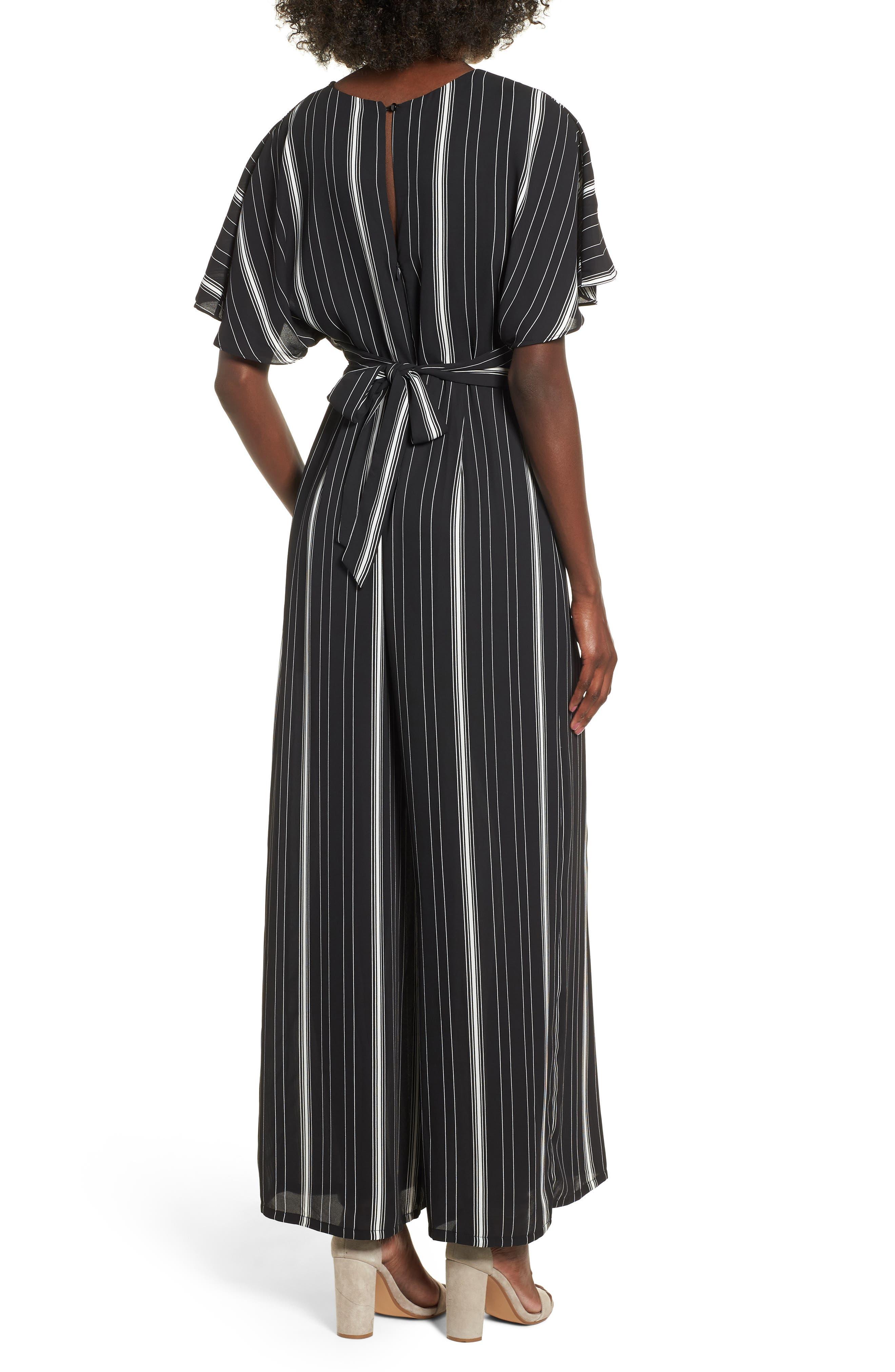 Dolman Sleeve Jumpsuit,                             Alternate thumbnail 2, color,                             BLACK TRACY STRIPE