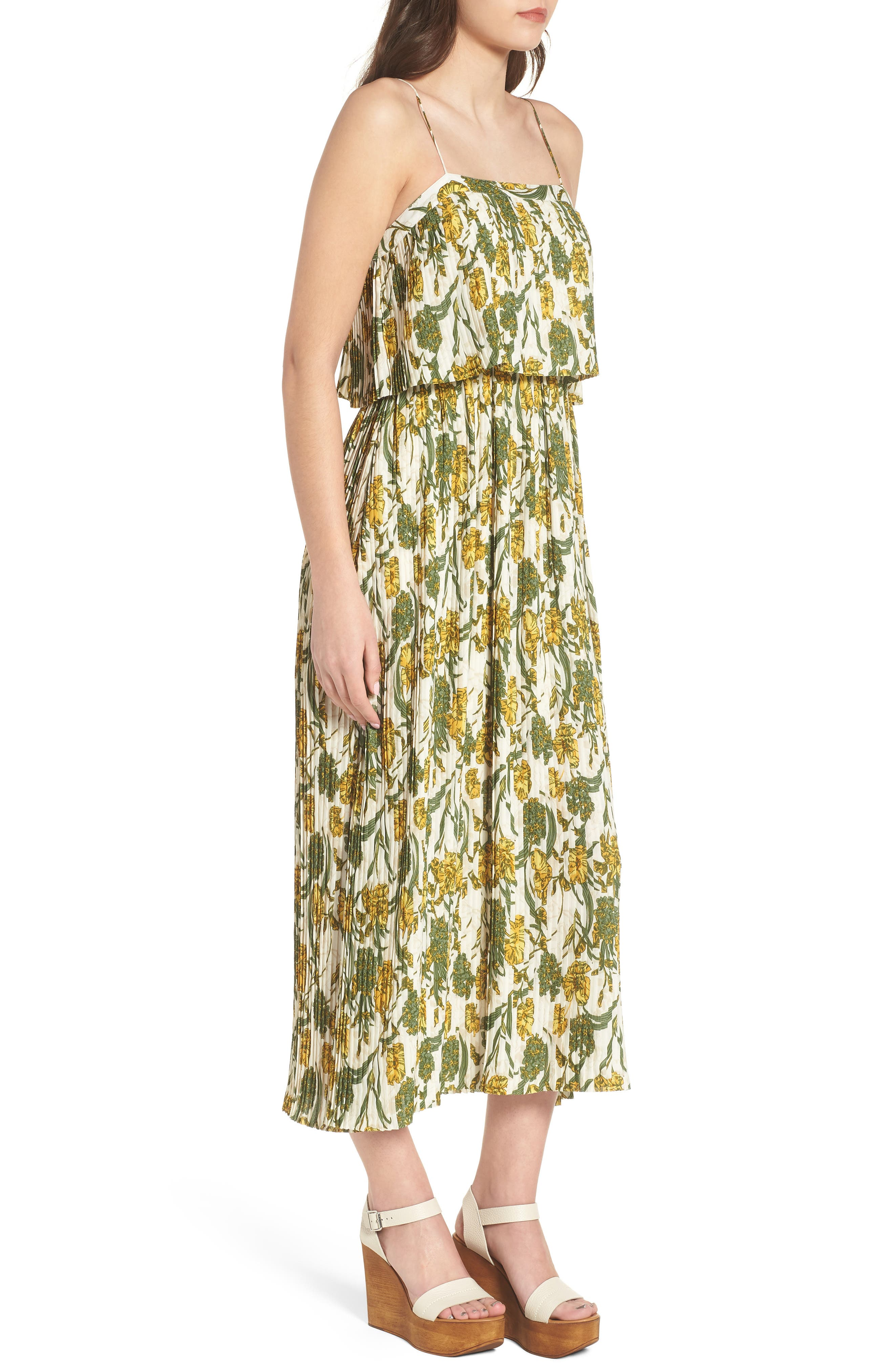 Pleated Midi Dress,                             Alternate thumbnail 3, color,                             900