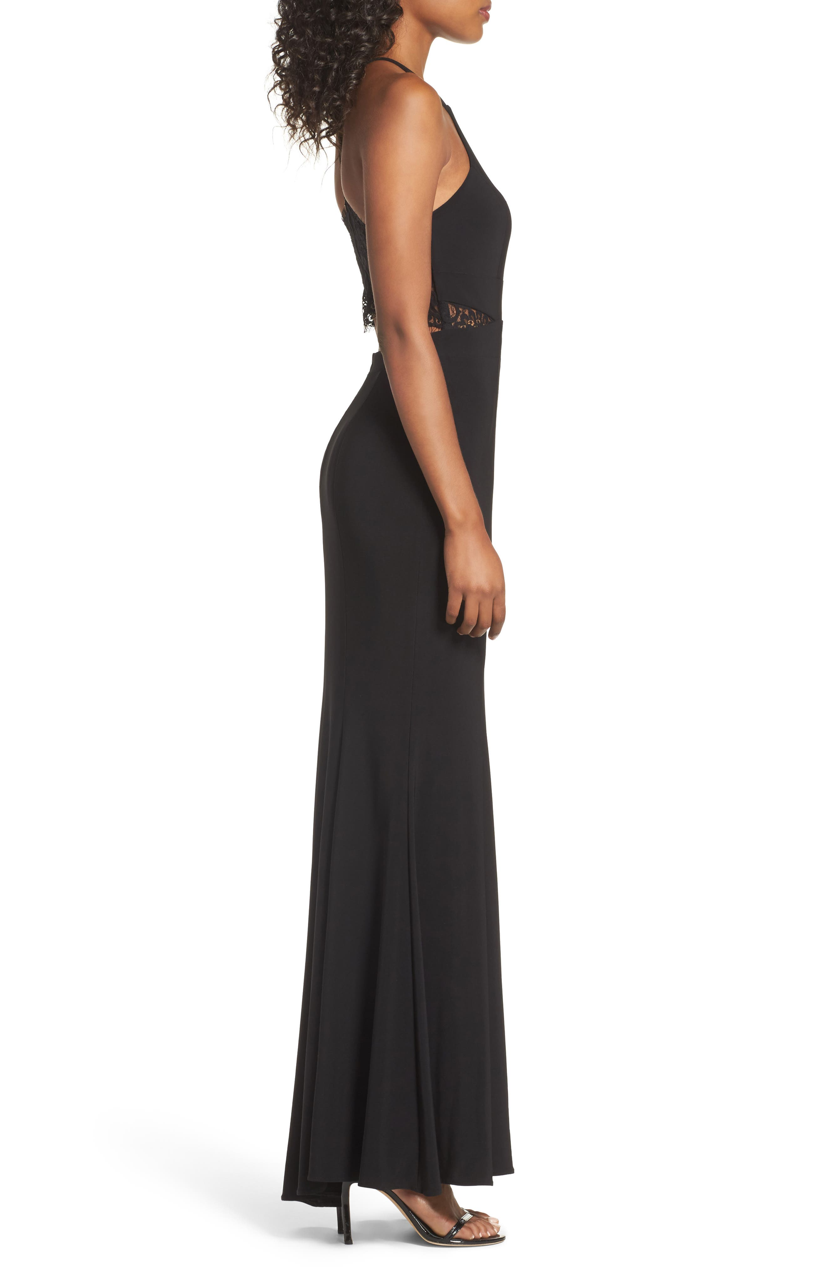Lace & Jersey Mermaid Gown,                             Alternate thumbnail 3, color,                             BLACK
