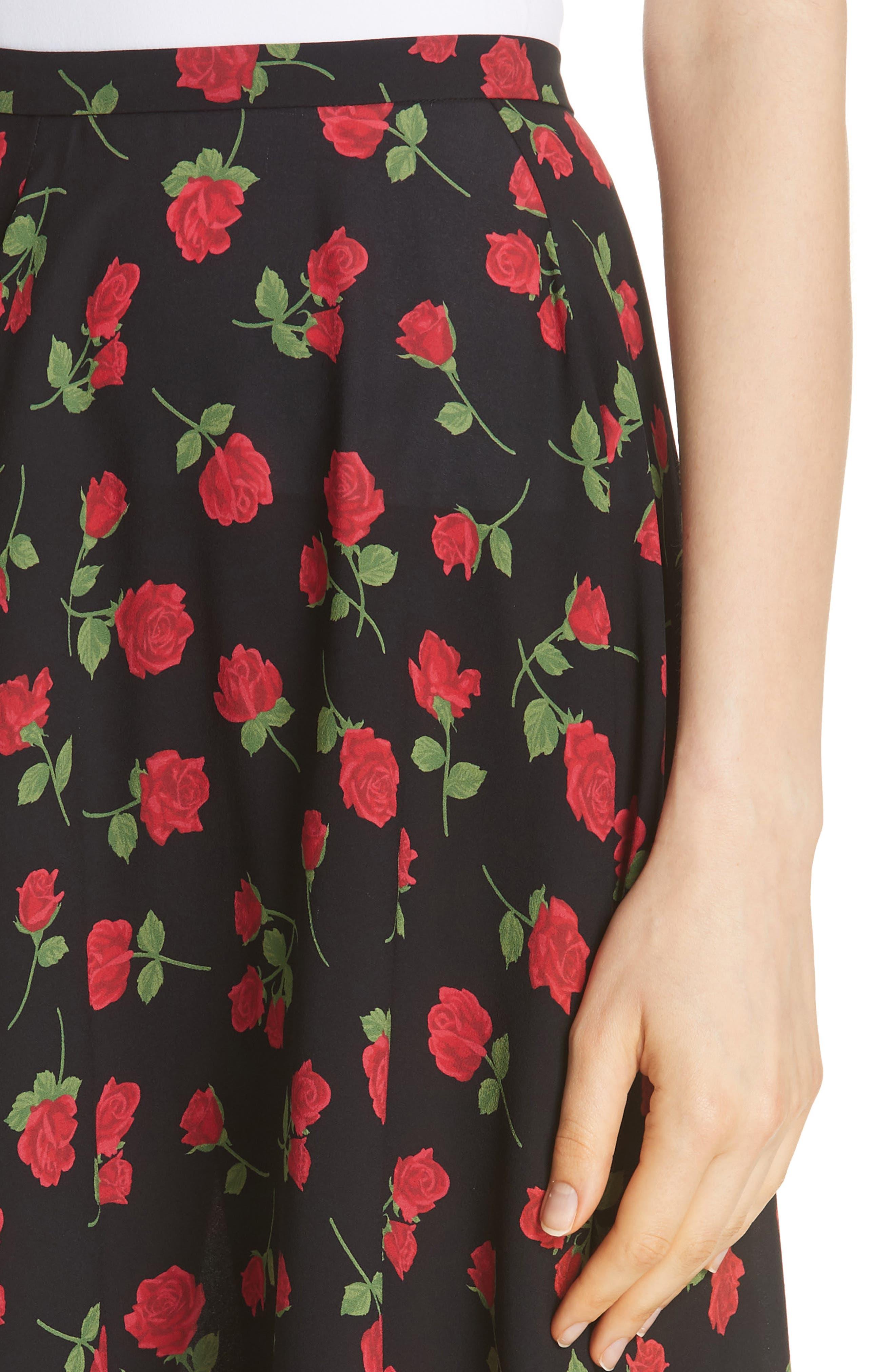 Rose Print Silk Georgette Dance Skirt,                             Alternate thumbnail 4, color,                             CRIMSON