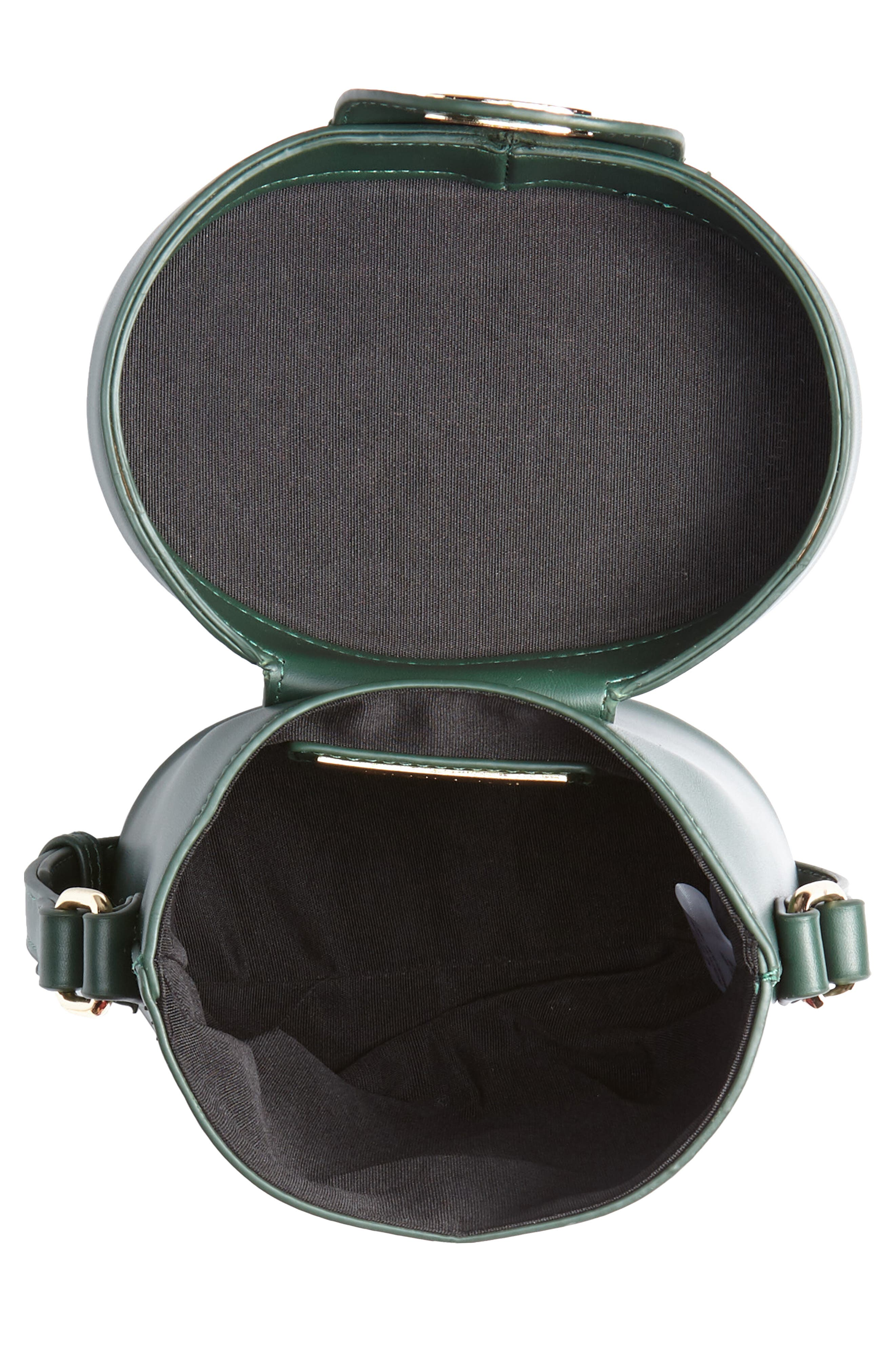 Faux Leather Bucket Bag,                             Alternate thumbnail 4, color,                             GREEN