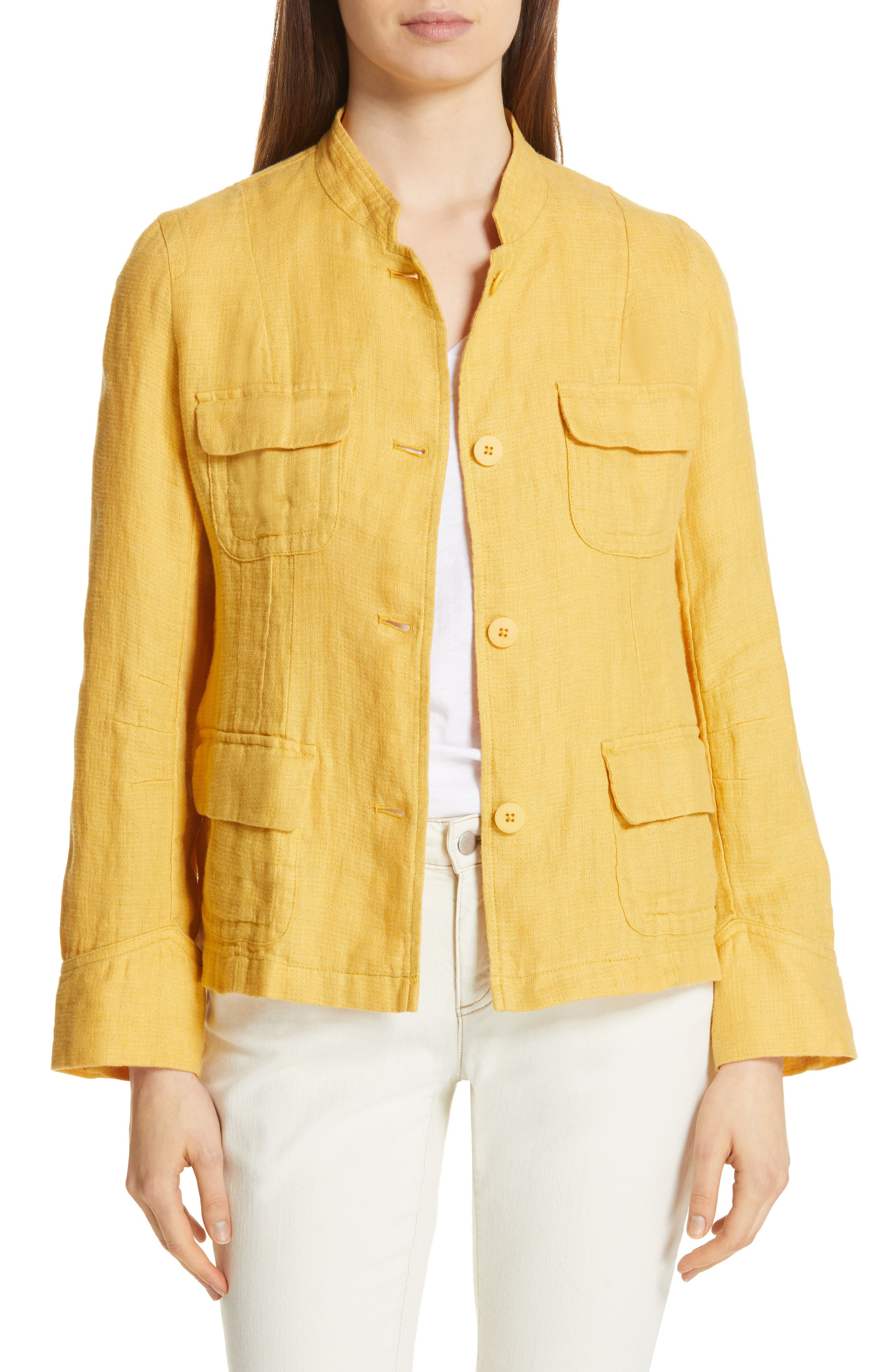 EILEEN FISHER Organic Linen Utility Jacket, Main, color, MARIGOLD