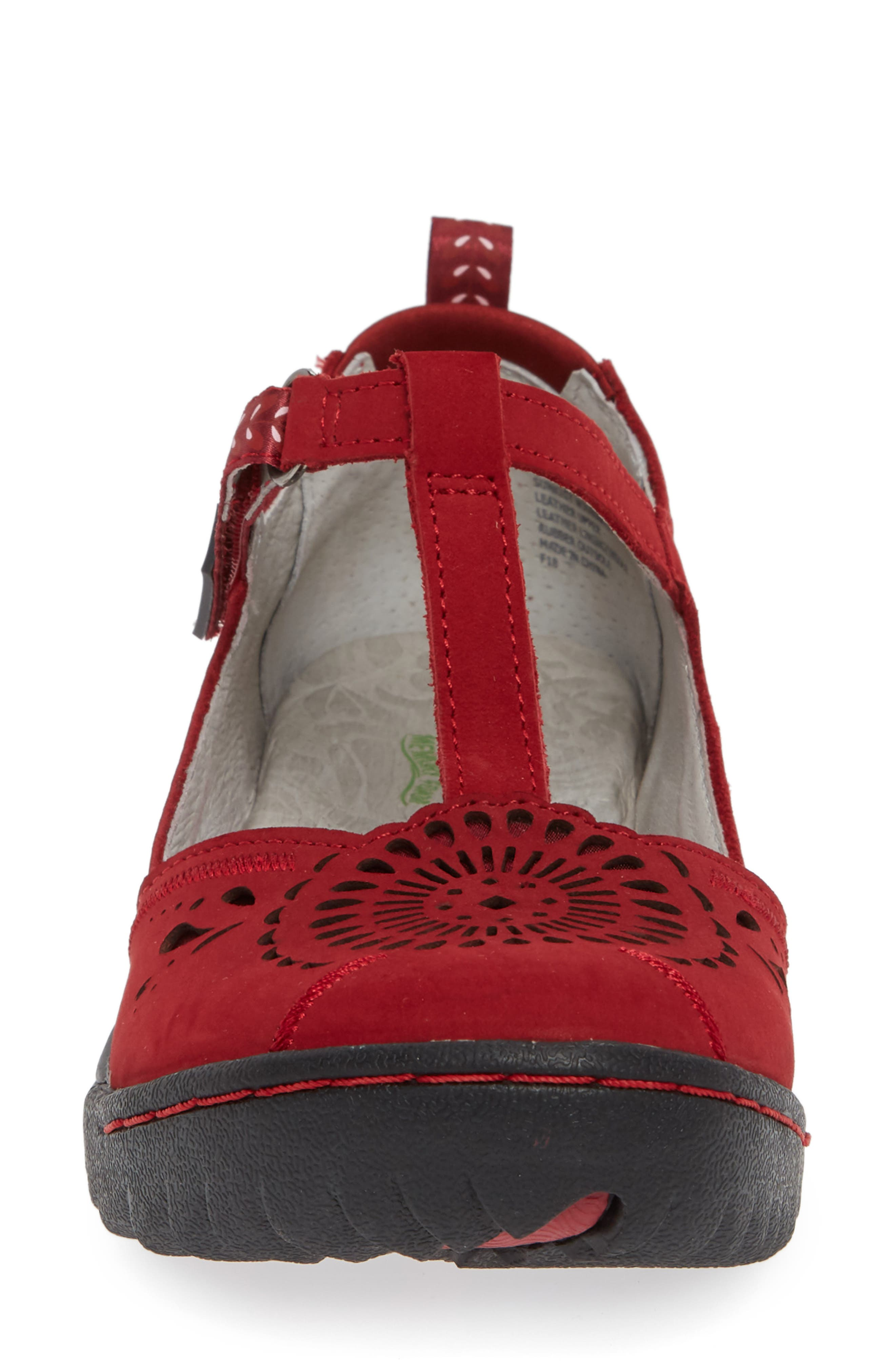 Sunkist Strappy Sneaker,                             Alternate thumbnail 4, color,                             RED/ PETAL NUBUCK LEATHER
