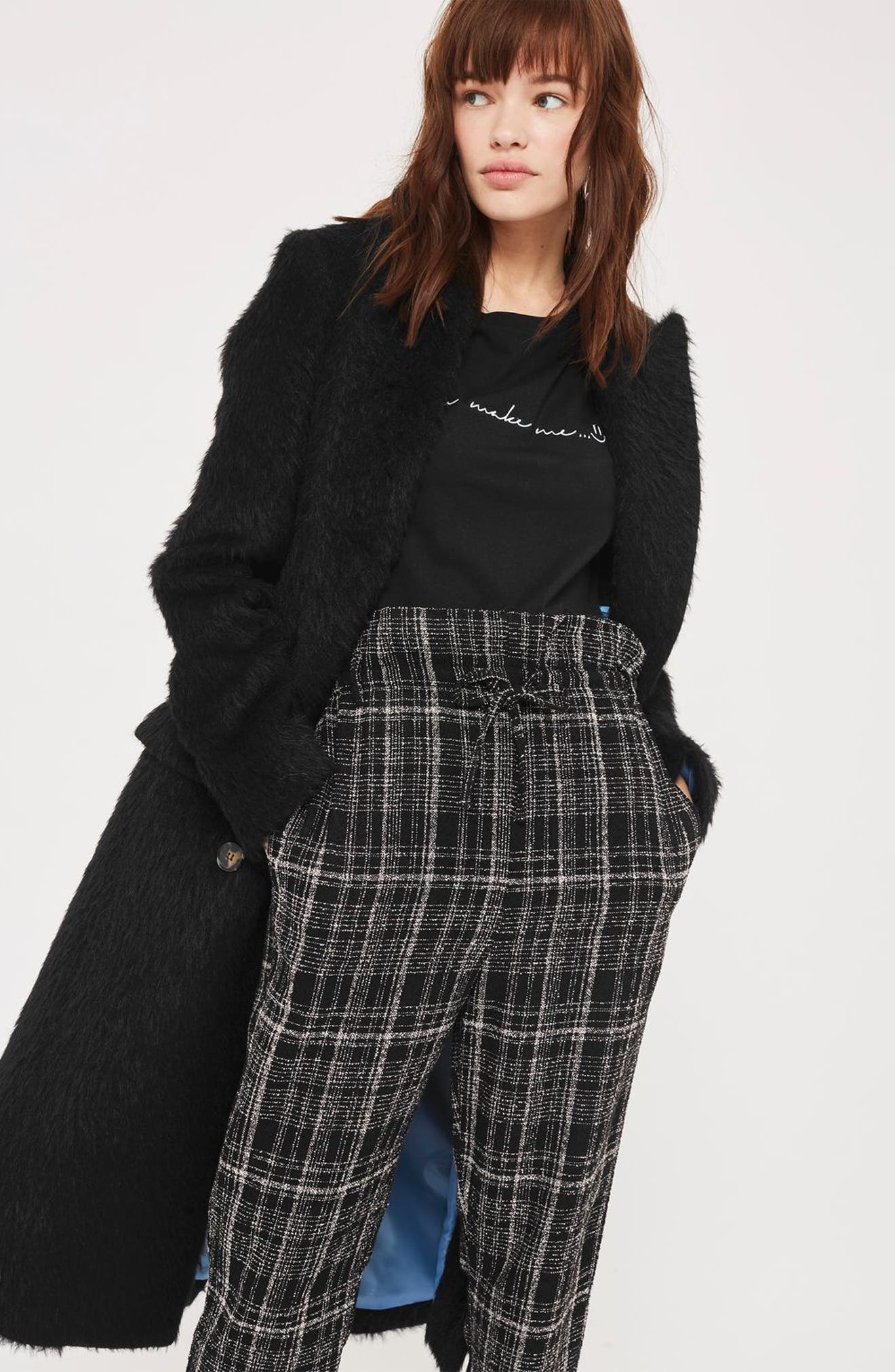 Neppy Checked Paperbag Trousers,                             Alternate thumbnail 4, color,                             001