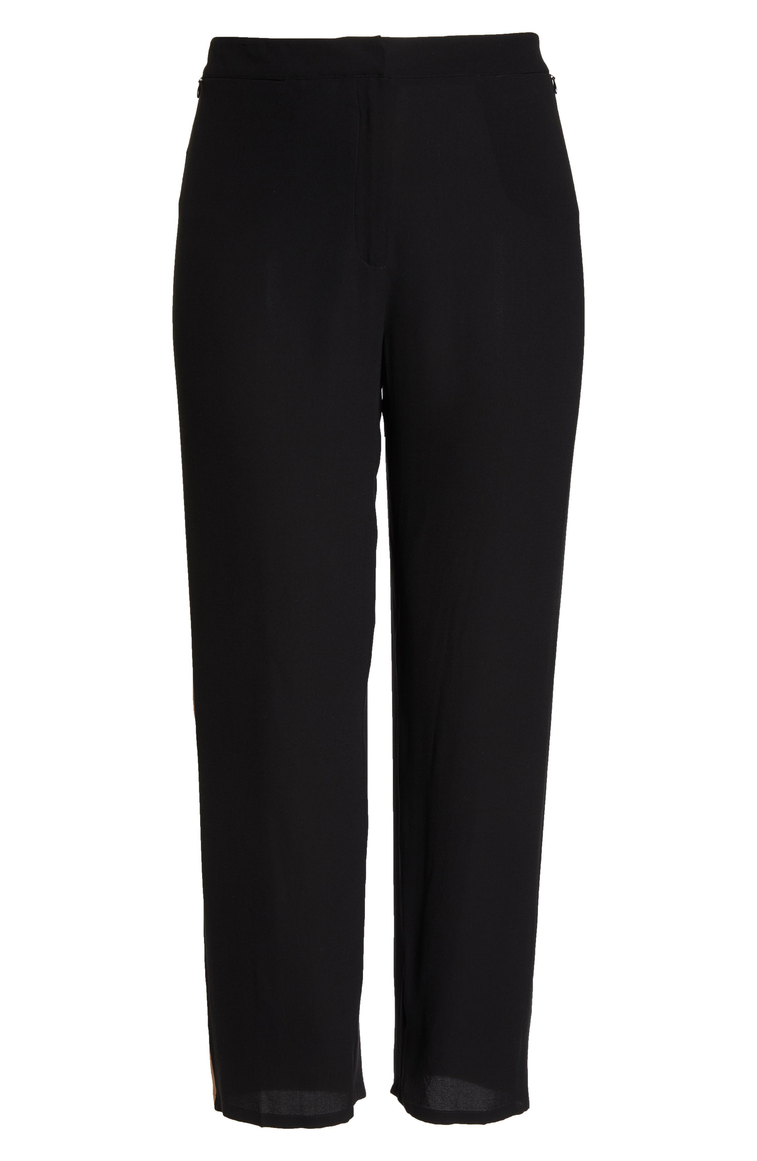 High Rise Side Stripe Silk Pants,                             Alternate thumbnail 6, color,                             BLACK