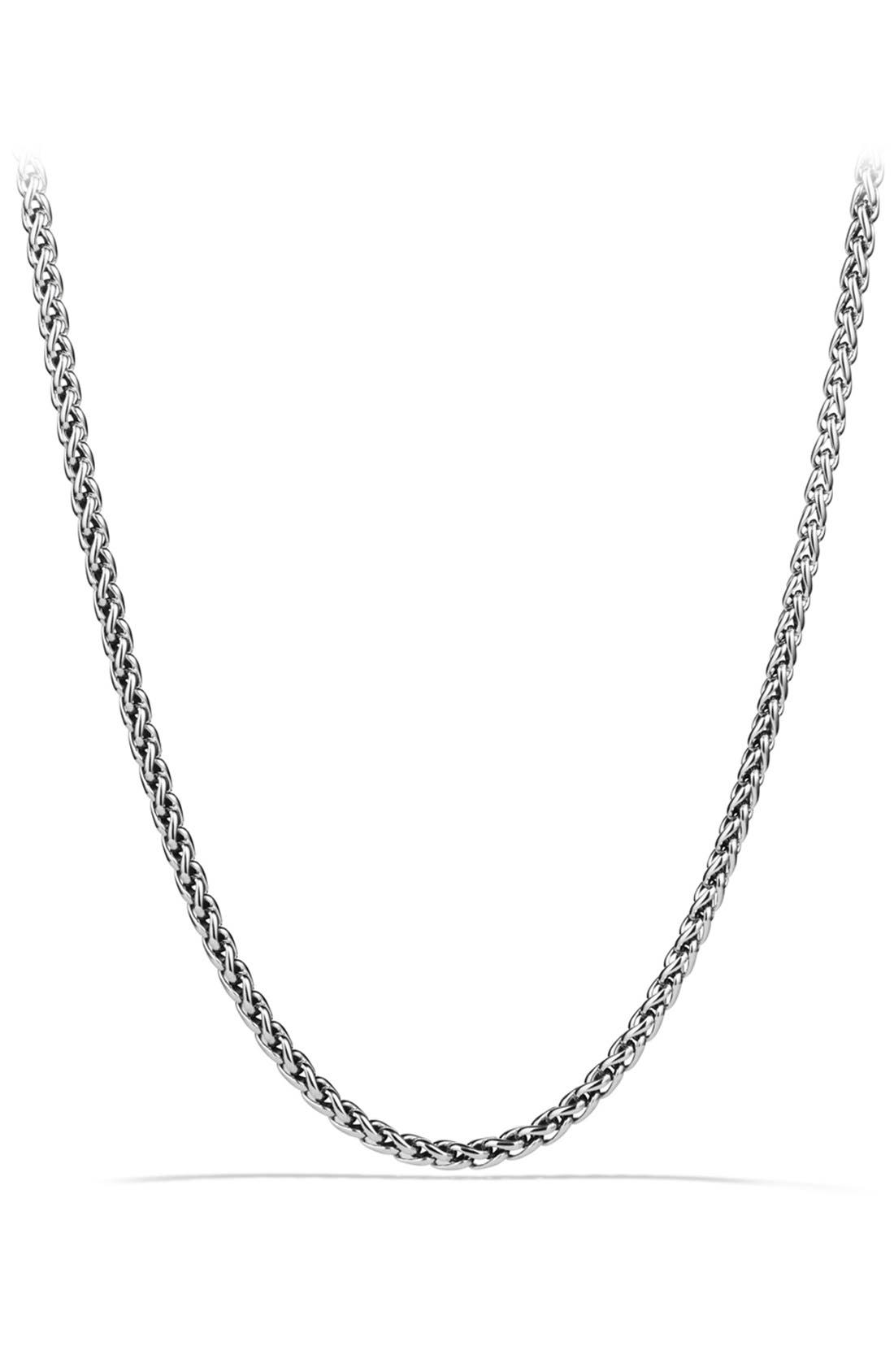 'Chain' Wheat Link Necklace,                             Main thumbnail 1, color,                             SILVER
