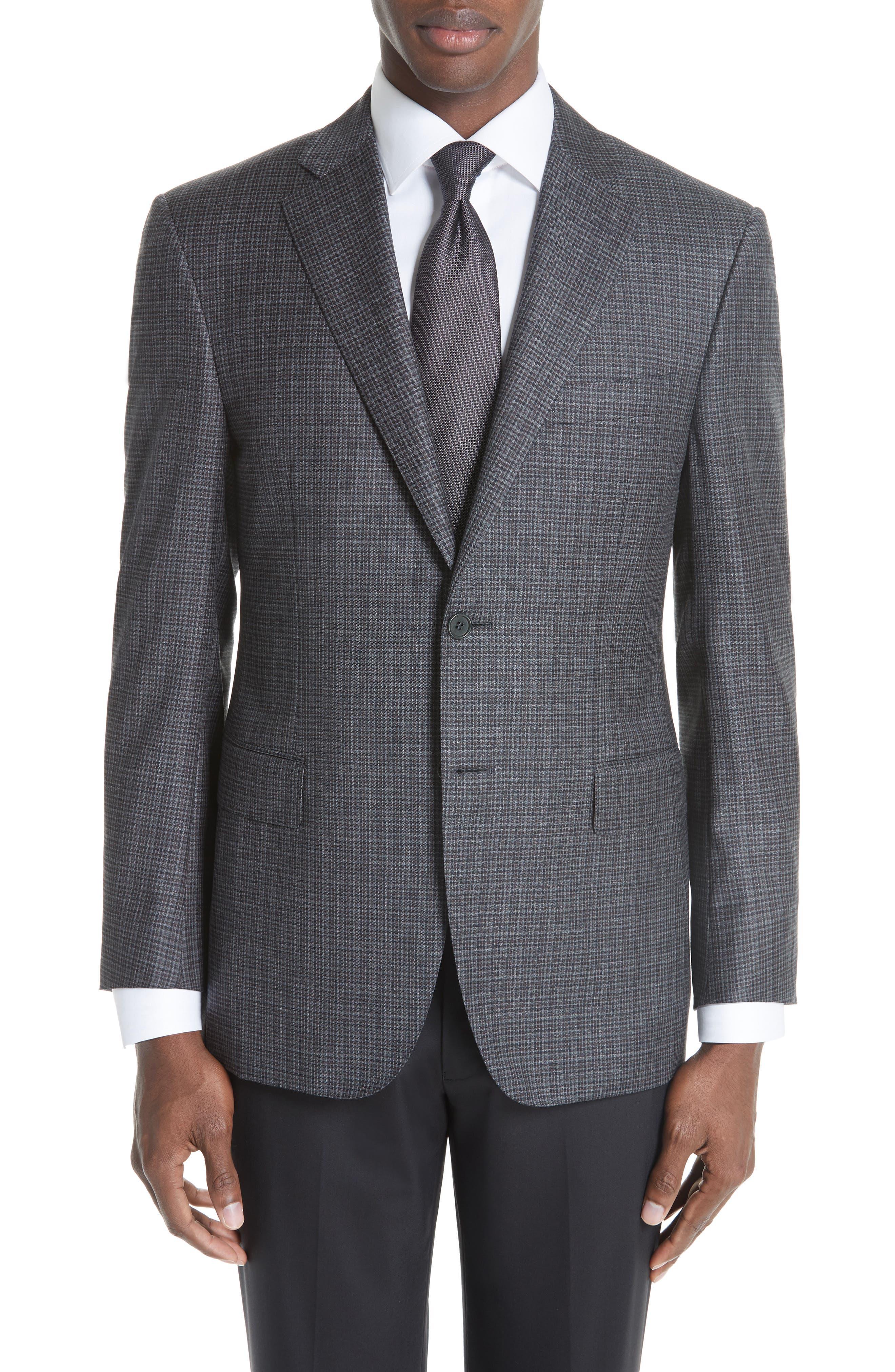 Classic Fit Check Wool Sport Coat,                             Main thumbnail 1, color,                             DARK GREY