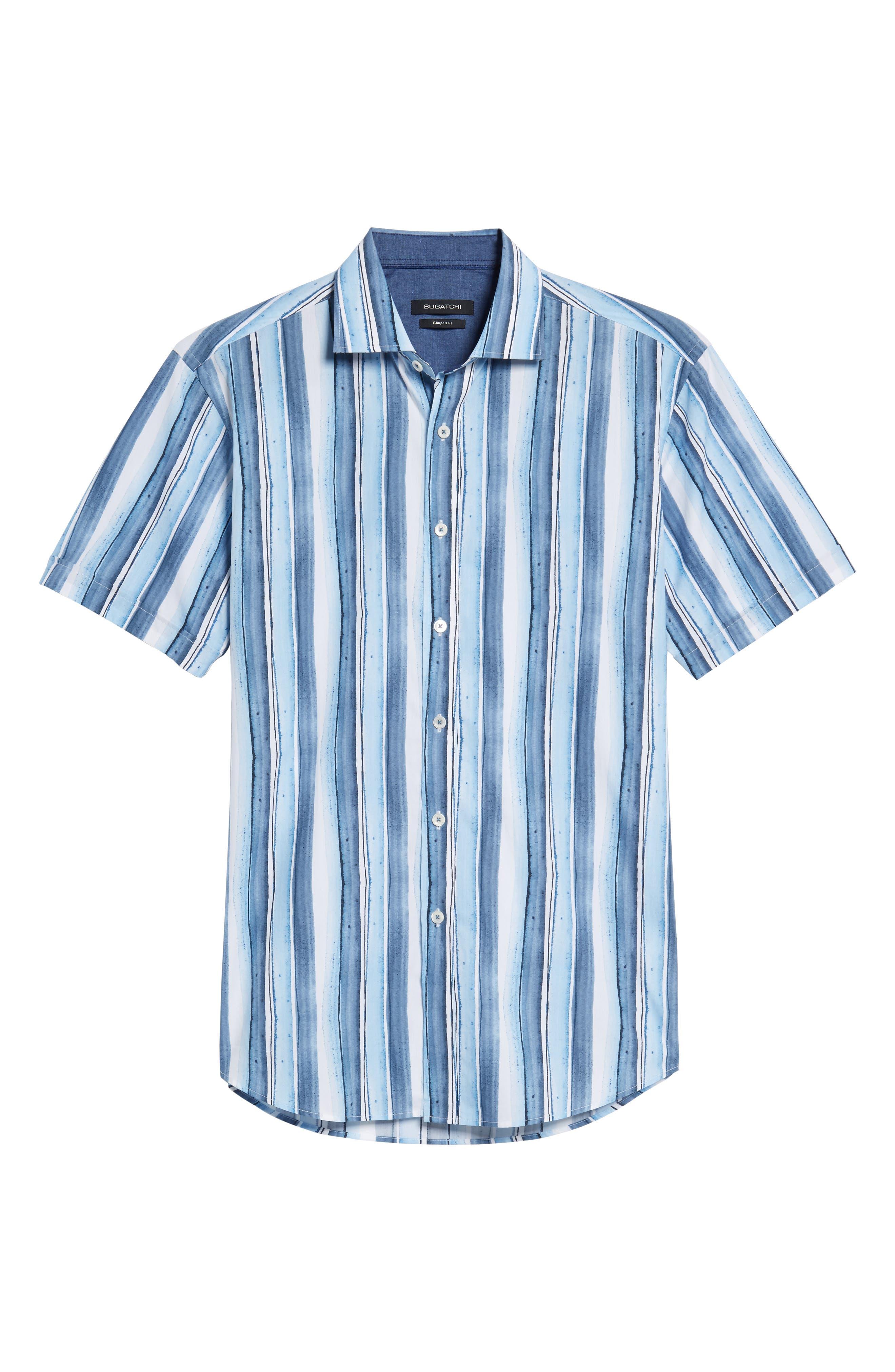 Shaped Fit Stripe Sport Shirt,                             Alternate thumbnail 6, color,                             409