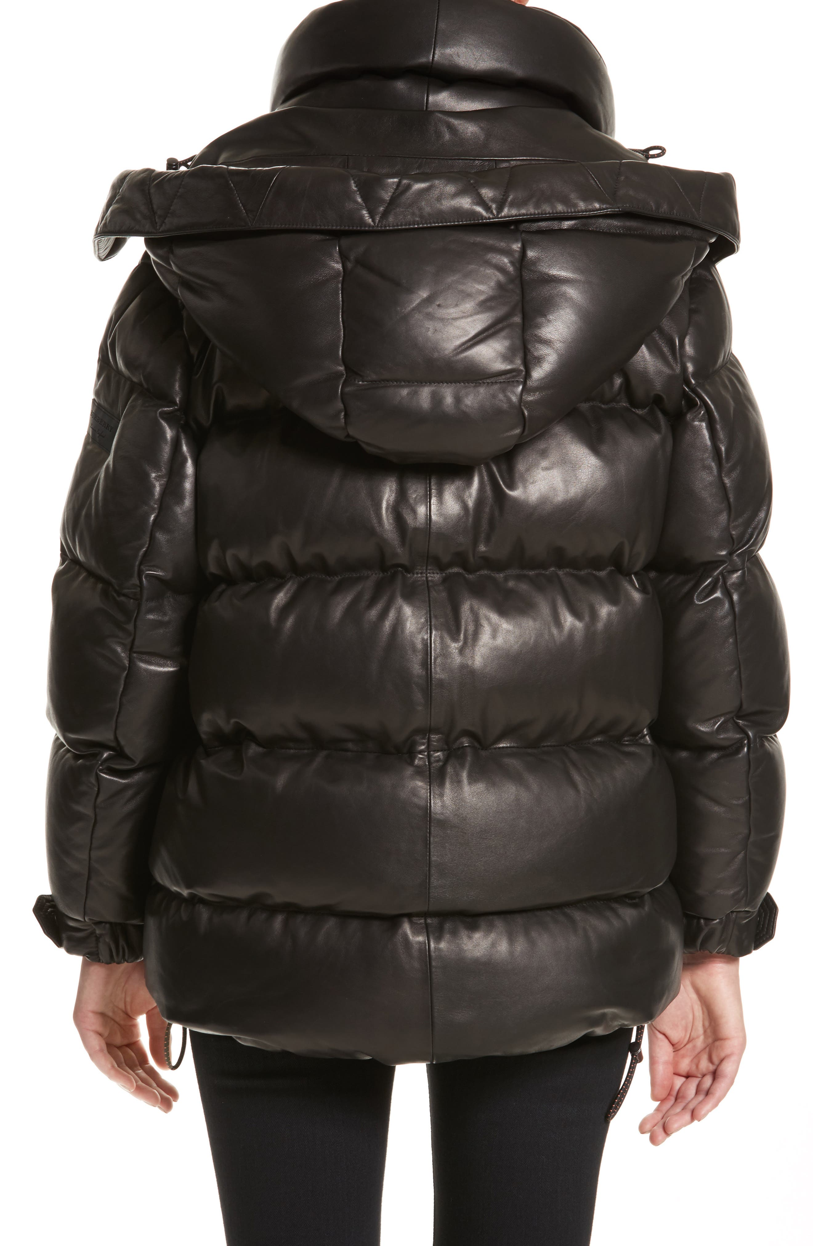 Rocklands Quilted Down Leather Coat,                             Alternate thumbnail 2, color,                             001