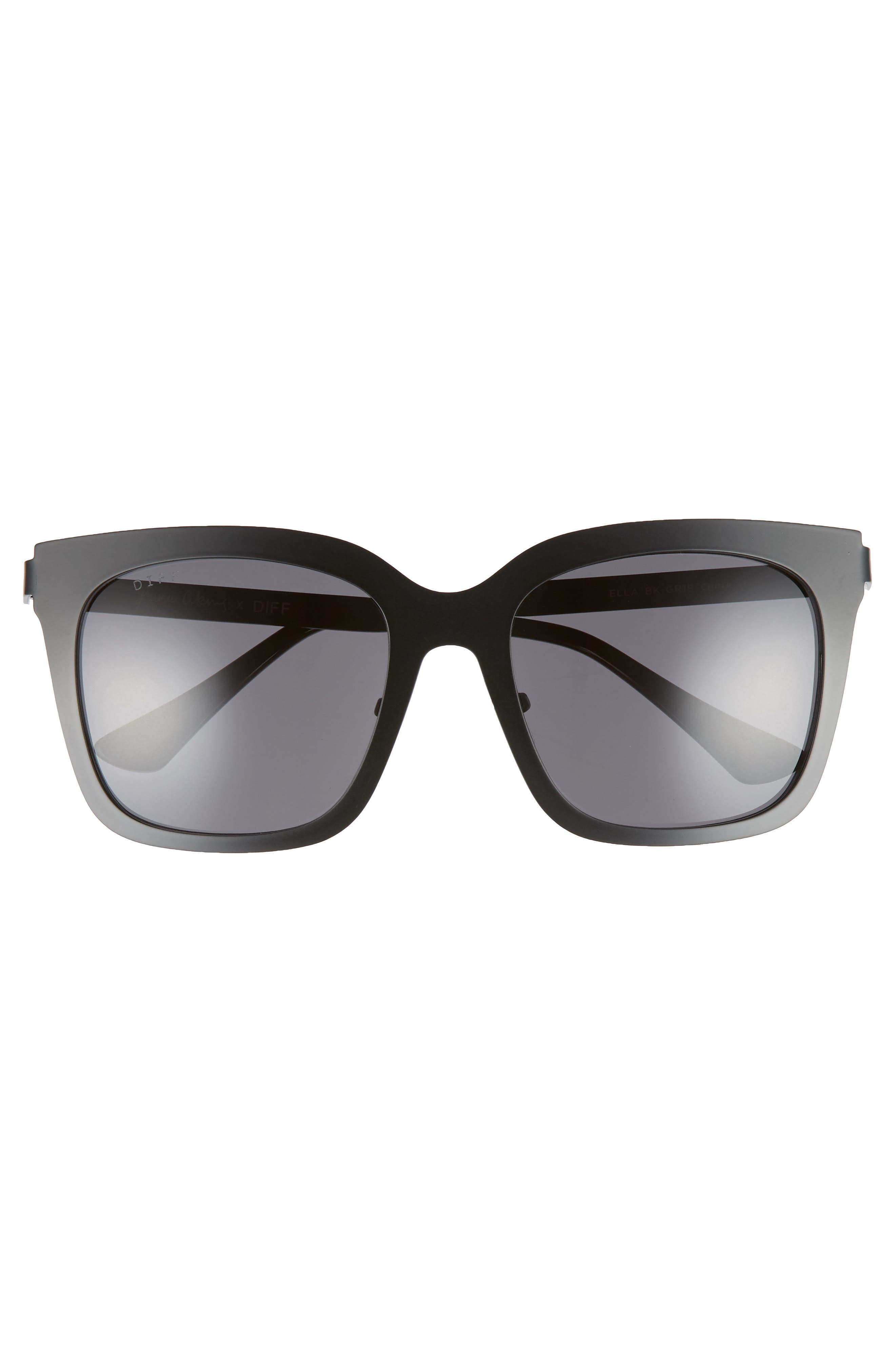 x Lauren Akins Ella 53mm Cat Eye Sunglasses,                             Alternate thumbnail 3, color,                             BLACK/ GREY