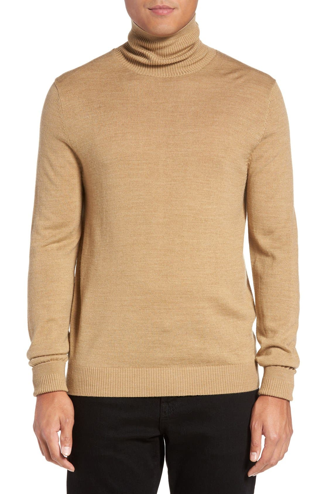 Merino Wool Turtleneck,                         Main,                         color, CAMEL