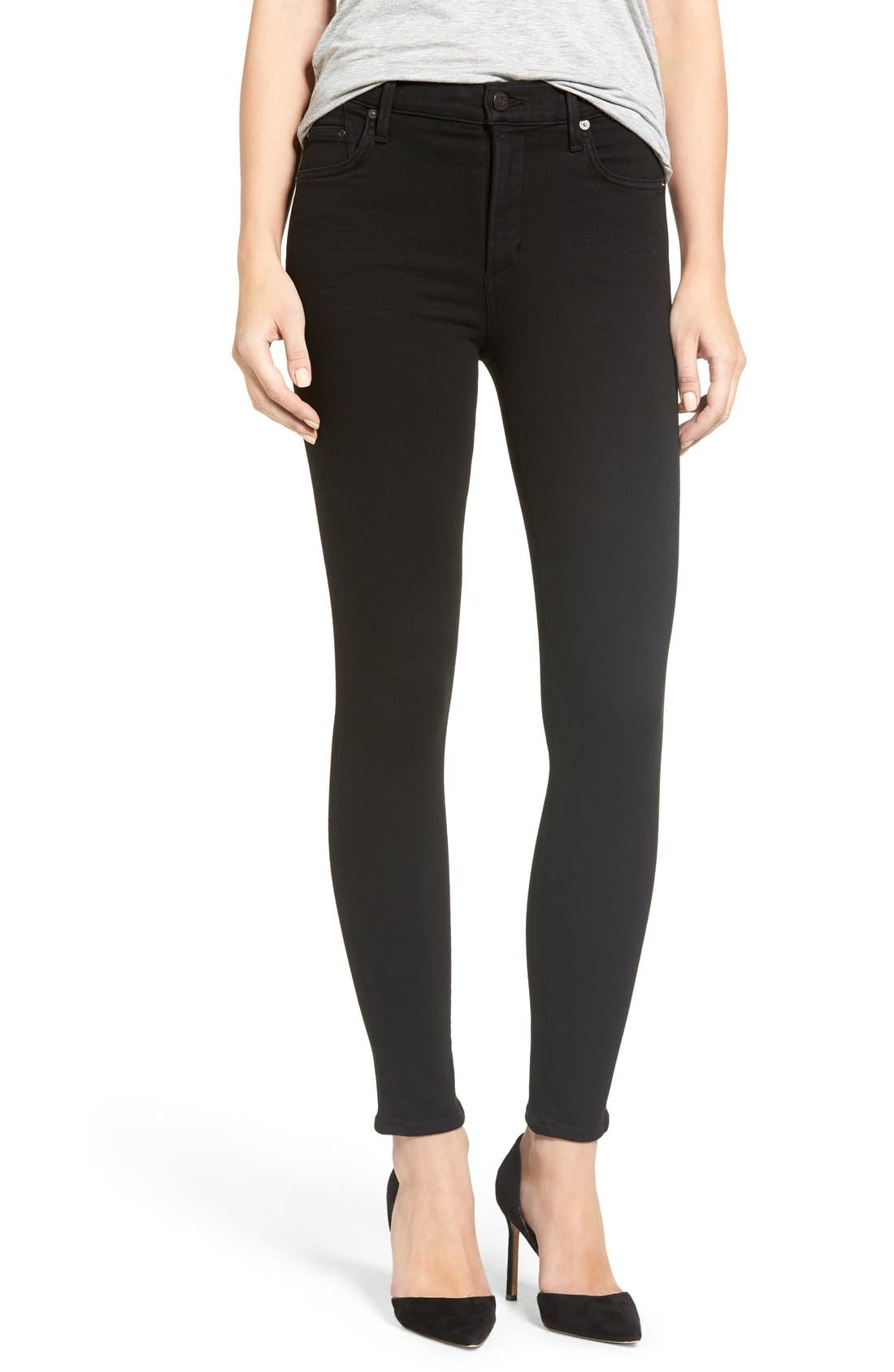 'Rocket' Skinny Jeans,                             Main thumbnail 1, color,                             ALL BLACK