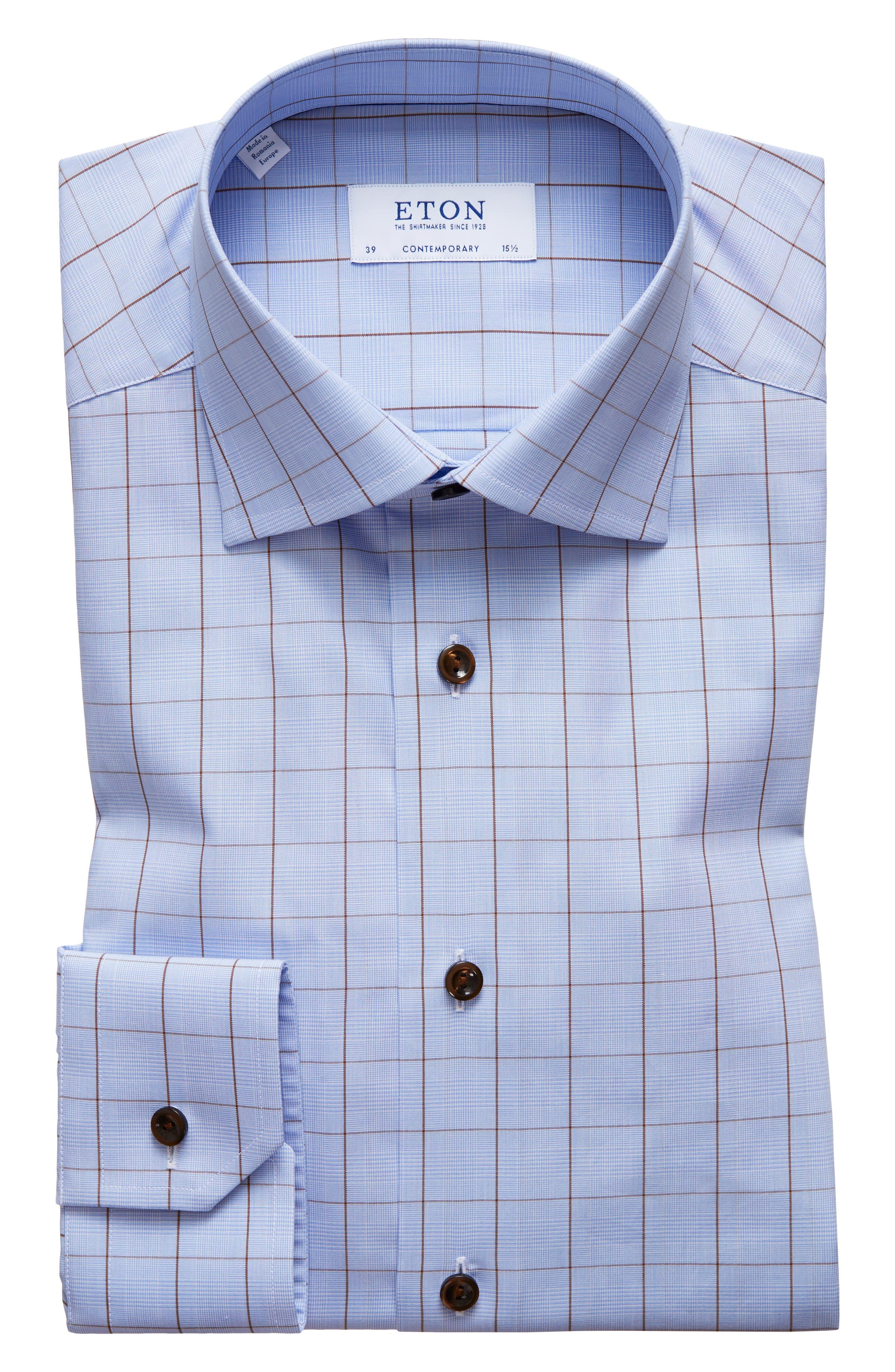 Contemporary Fit Plaid Dress Shirt,                         Main,                         color, BLUE