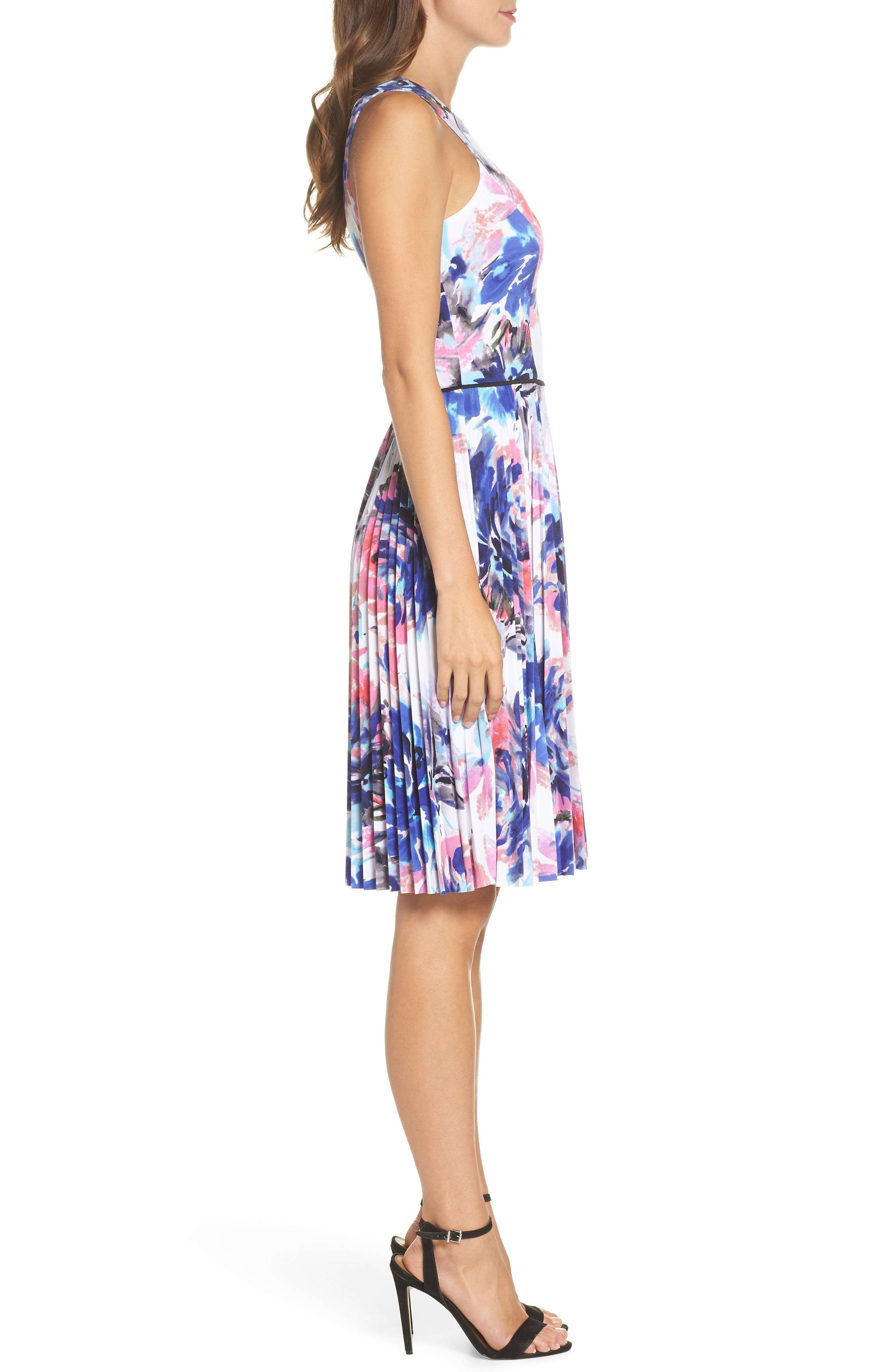 Floral Pleated Fit & Flare Dress,                             Alternate thumbnail 3, color,                             466