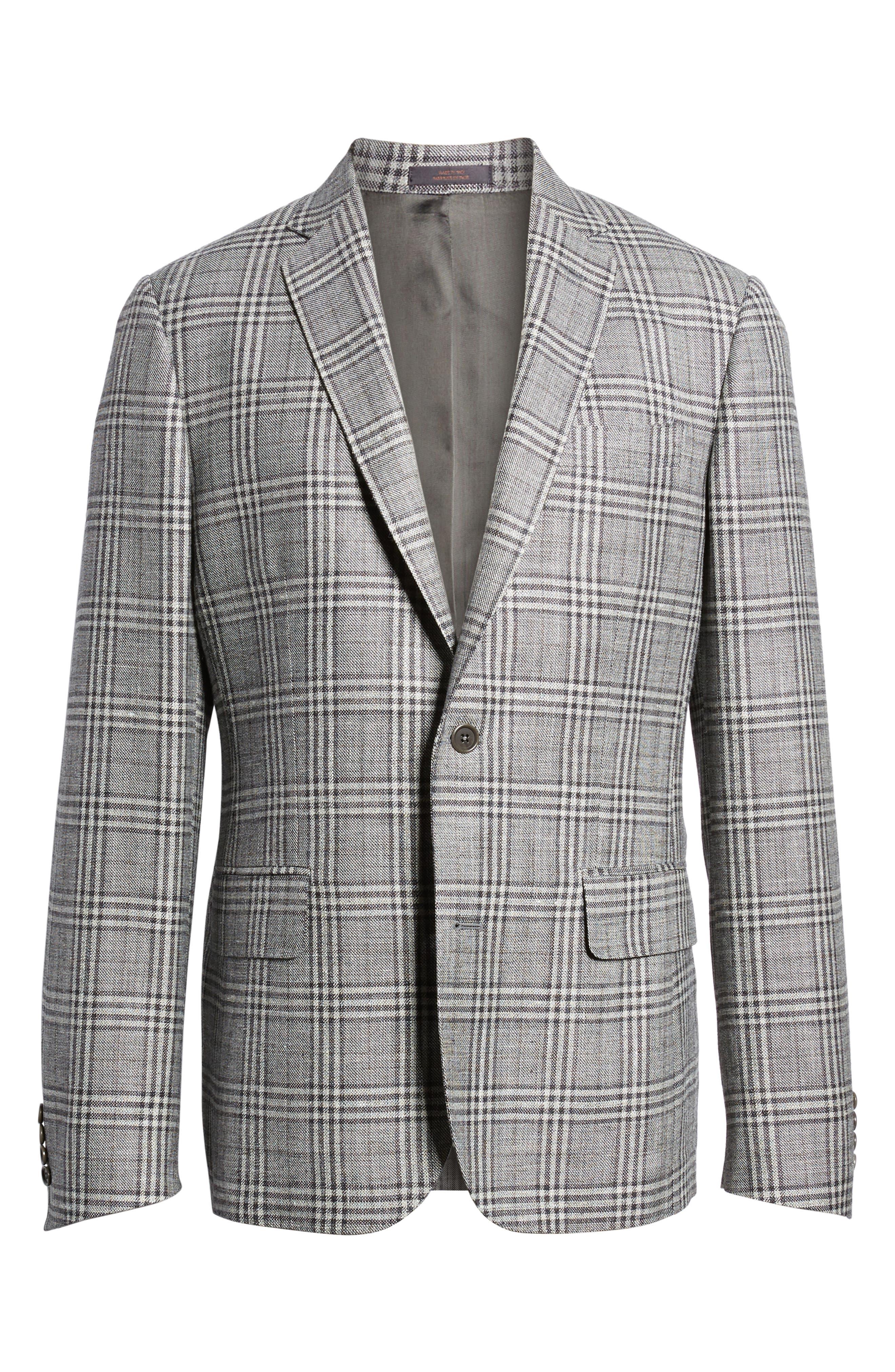 Trim Fit Plaid Wool Blend Sport Coat,                             Alternate thumbnail 5, color,                             030