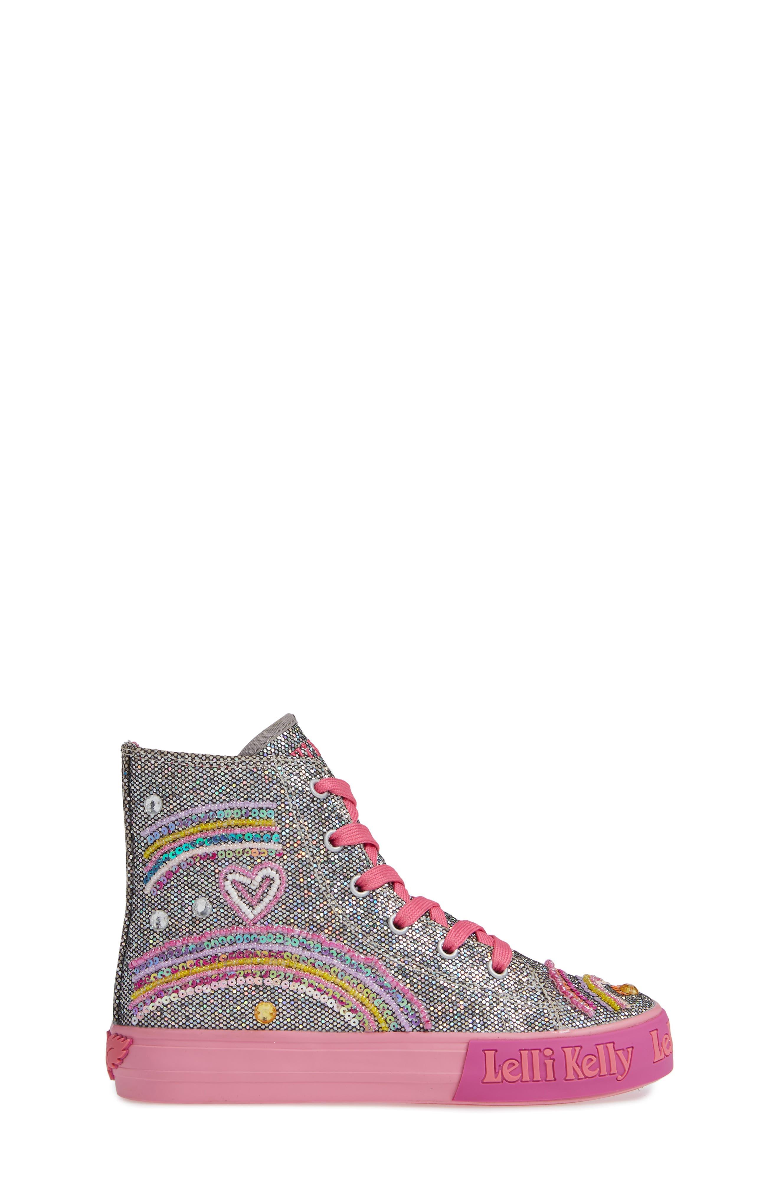 Beaded High Top Sneaker,                             Alternate thumbnail 3, color,                             PEWTER