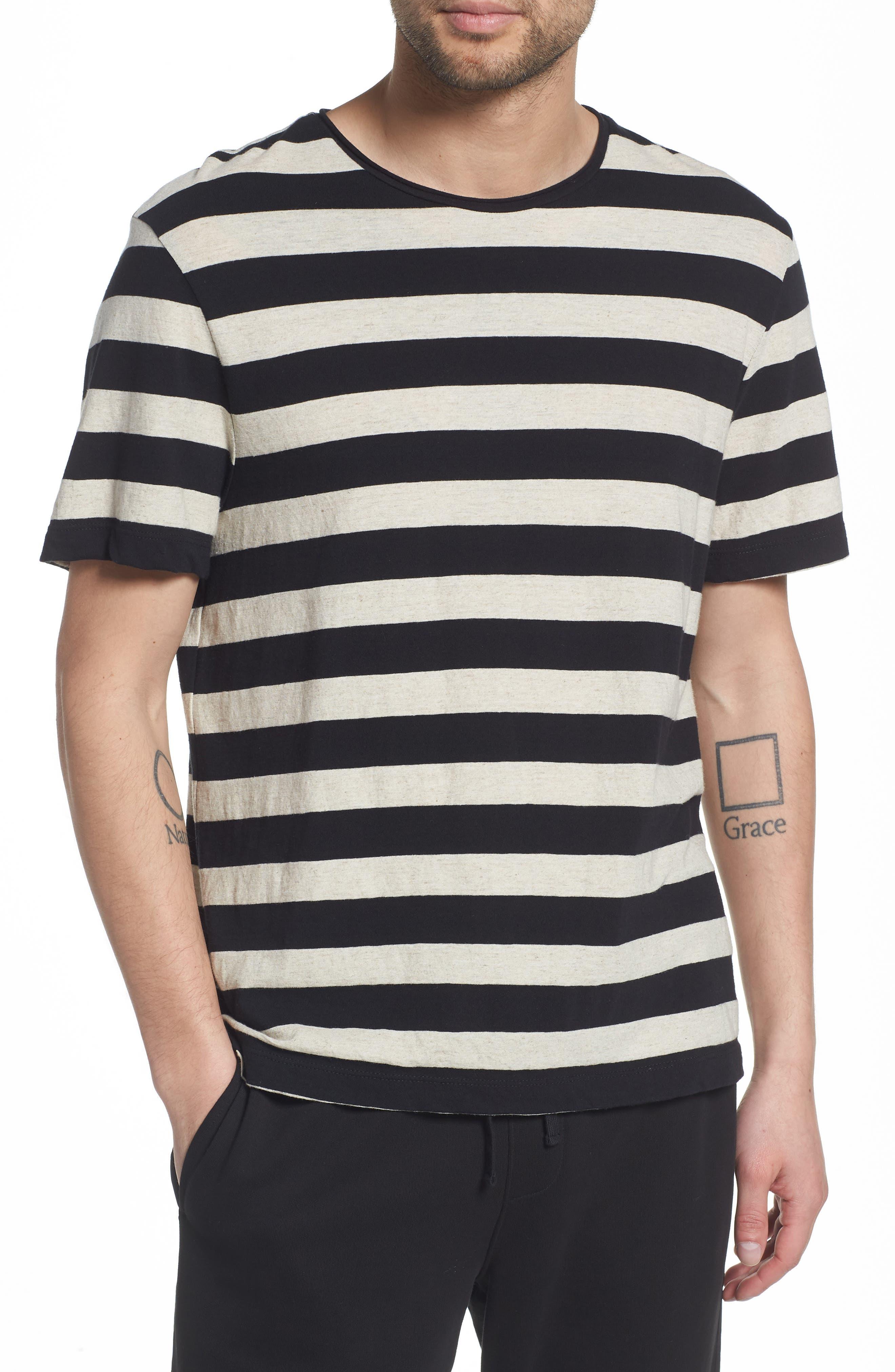Stripe Regular Fit Shirt,                         Main,                         color, LINEN/ BLACK