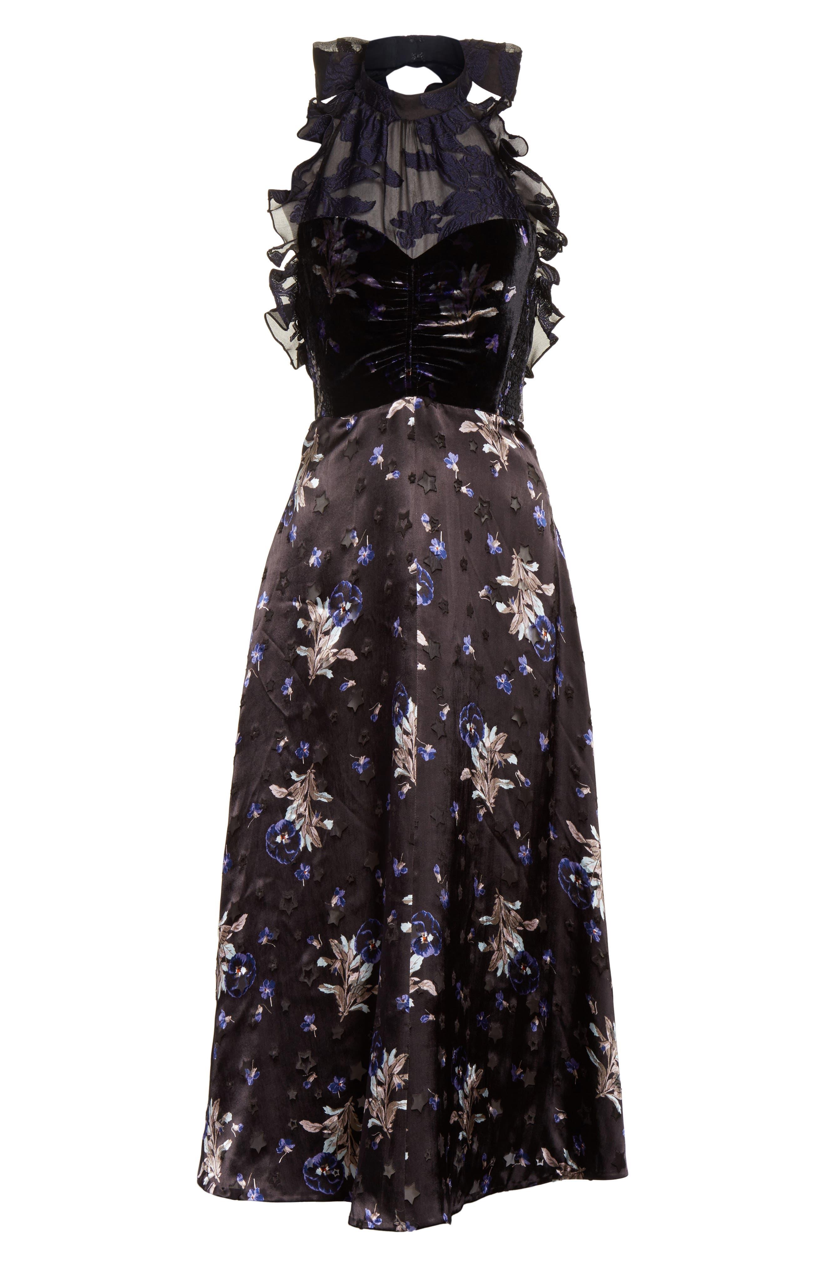 Violet Velvet Halter Dress,                             Alternate thumbnail 6, color,