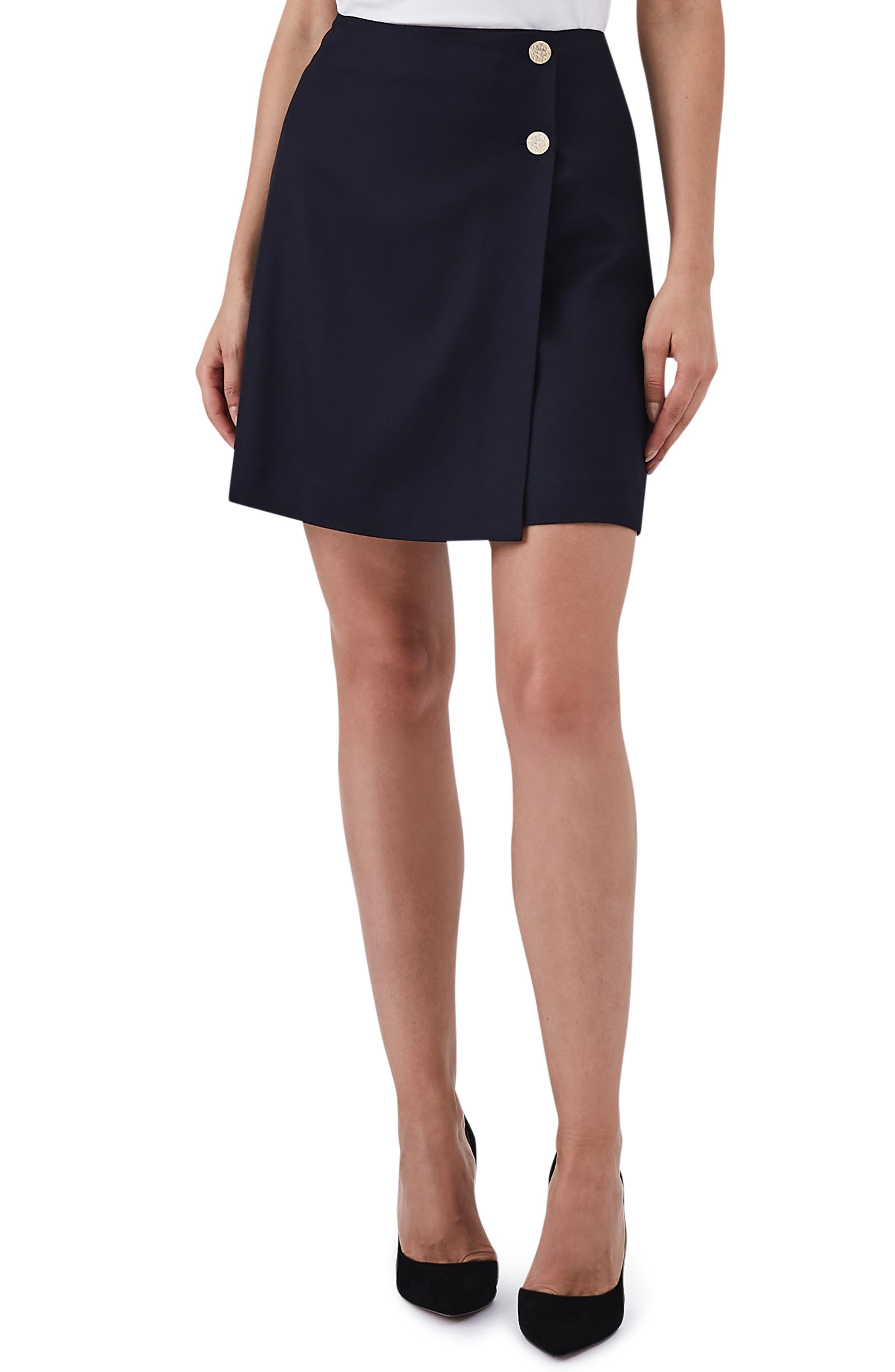 Tally Button Wool Blend Mini Skirt,                             Main thumbnail 1, color,                             BLUE