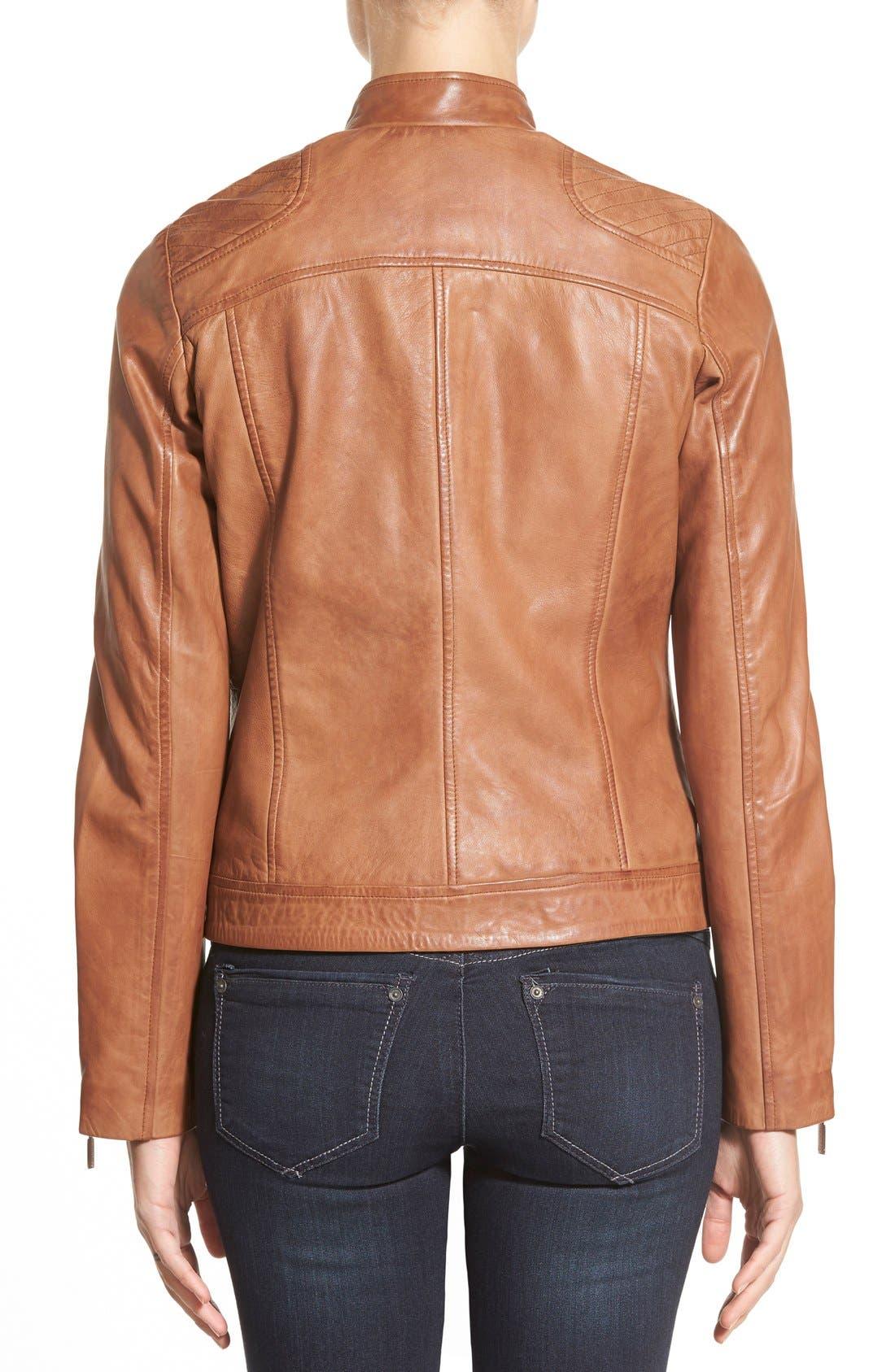 Zip Front Leather Jacket,                             Alternate thumbnail 4, color,