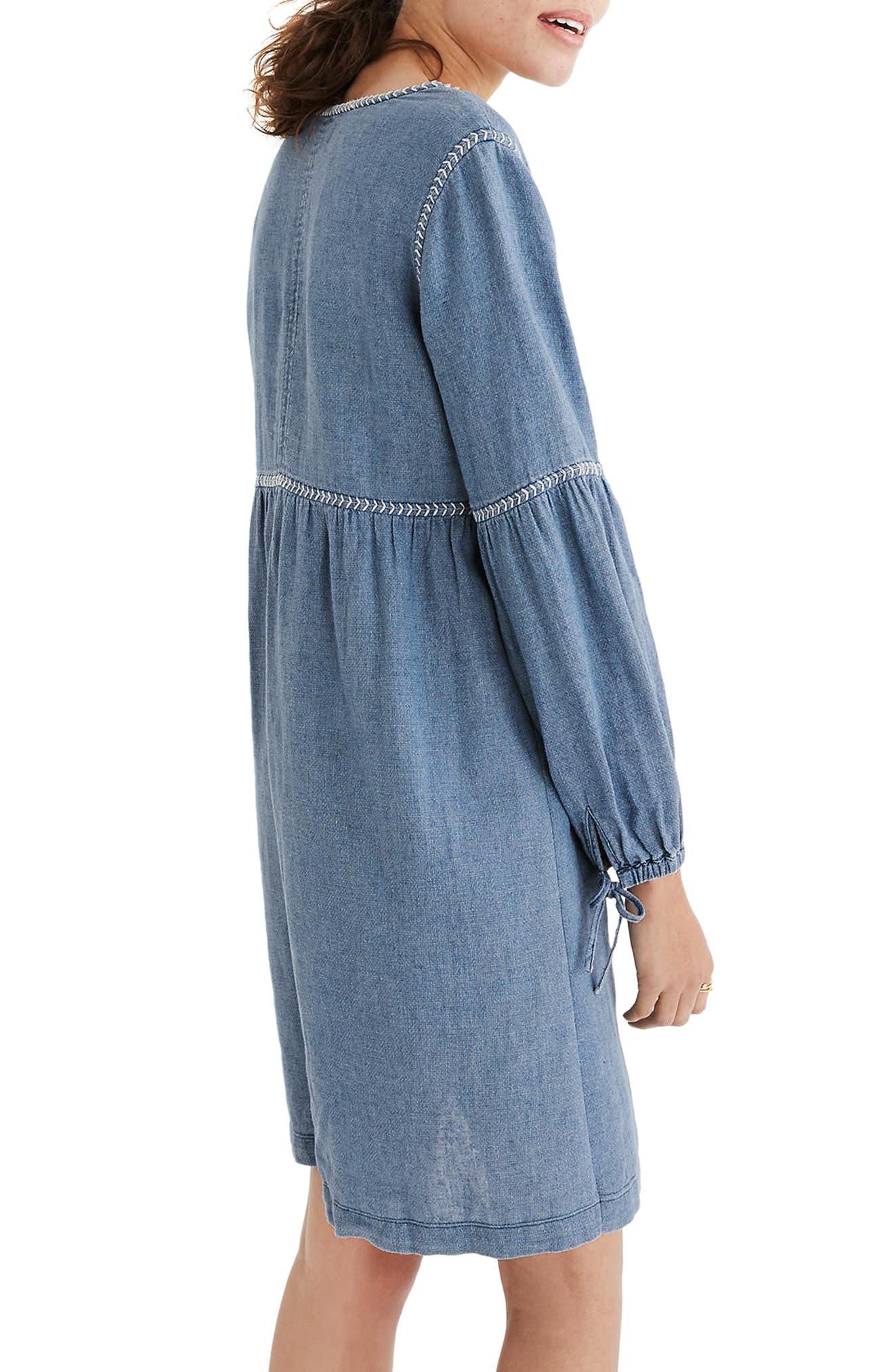 Indigo Peasant Dress,                             Alternate thumbnail 2, color,                             400