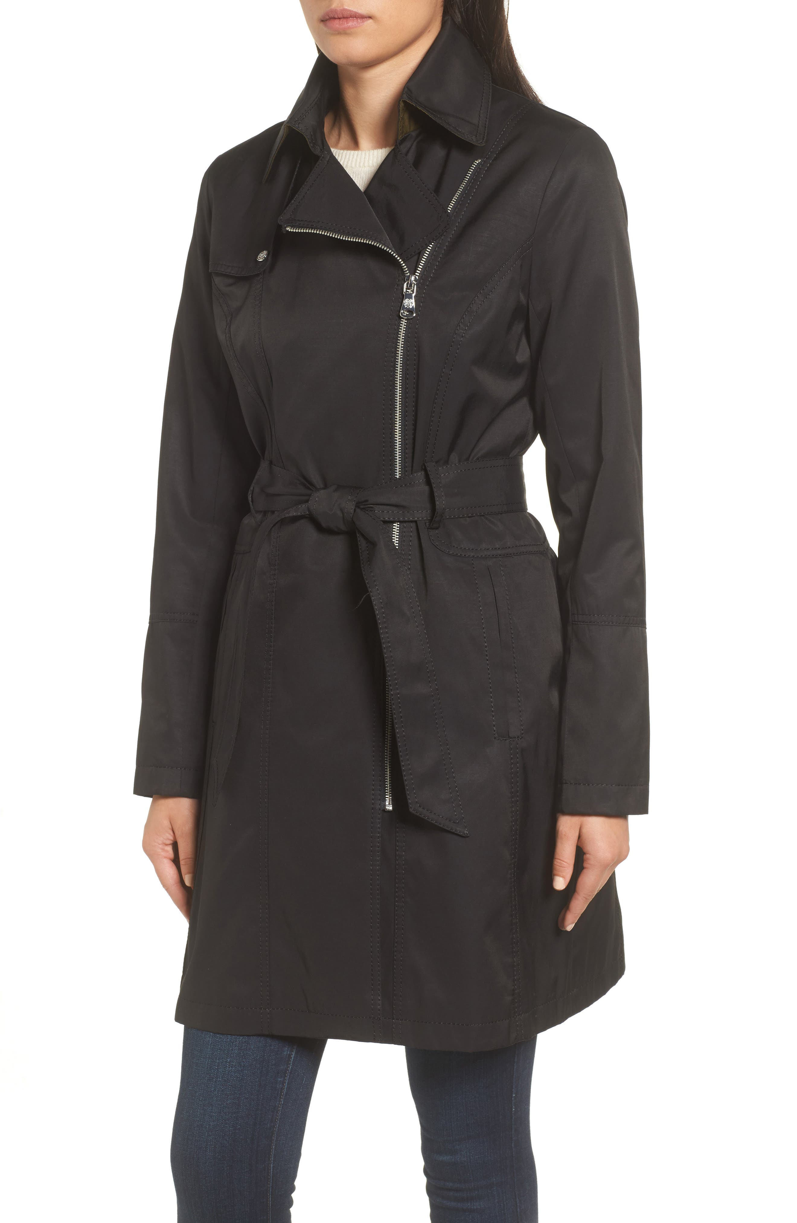 Belted Asymmetrical Trench Coat,                             Alternate thumbnail 10, color,