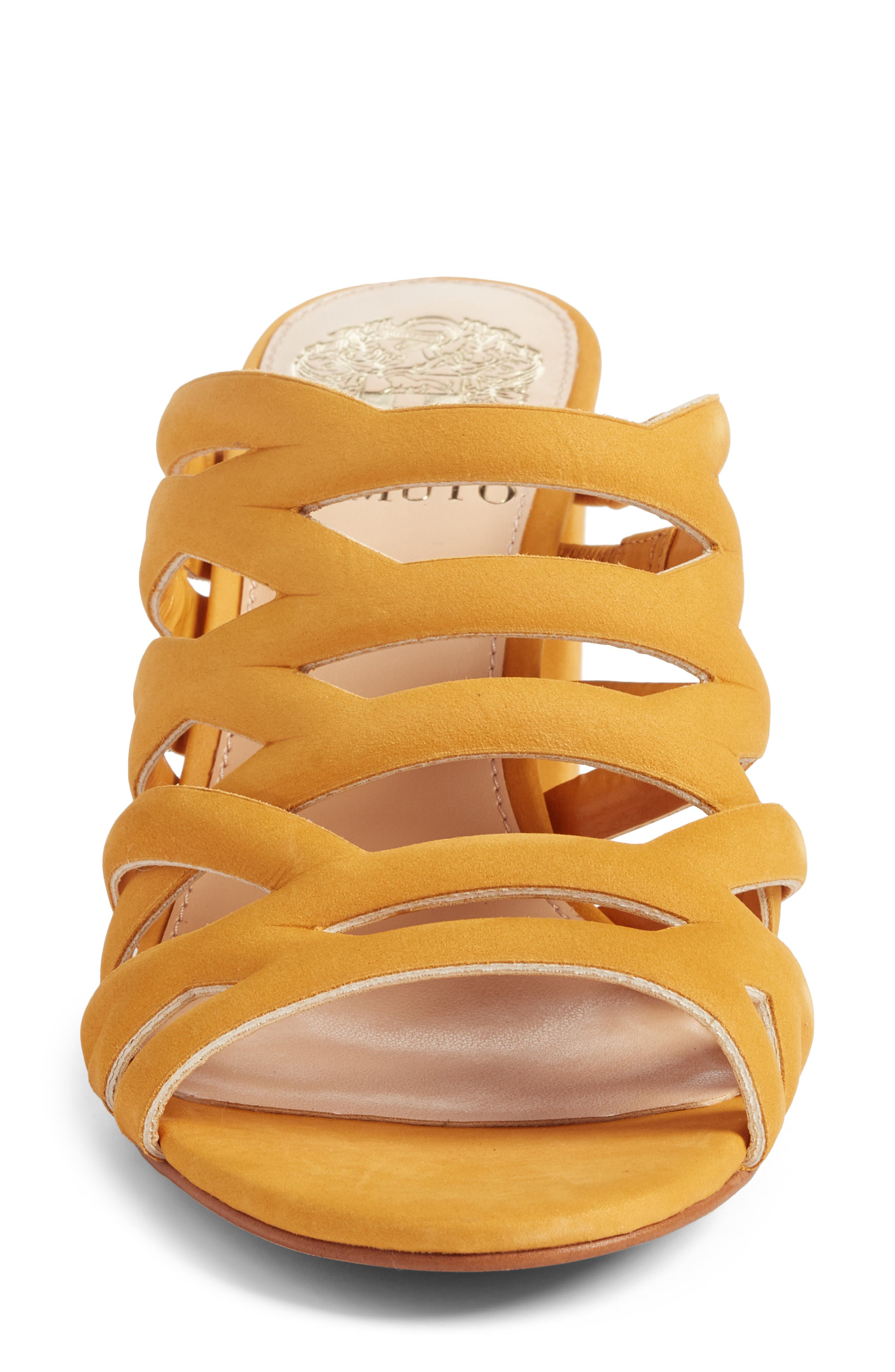 Raveana Cage Mule,                             Alternate thumbnail 4, color,                             MUSTARD YELLOW LEATHER