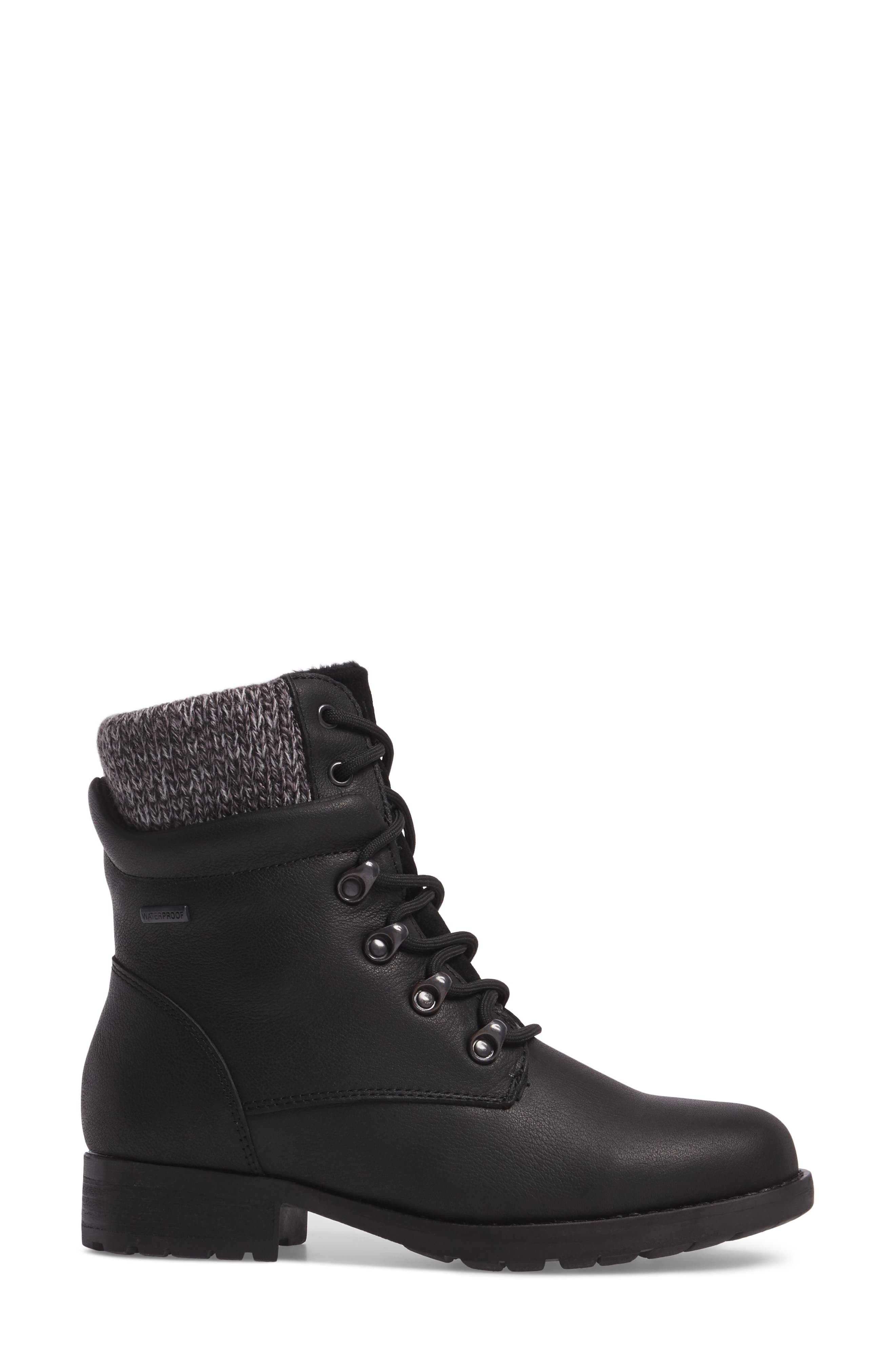 Derry Waterproof Boot,                             Alternate thumbnail 3, color,                             BLACK LEATHER