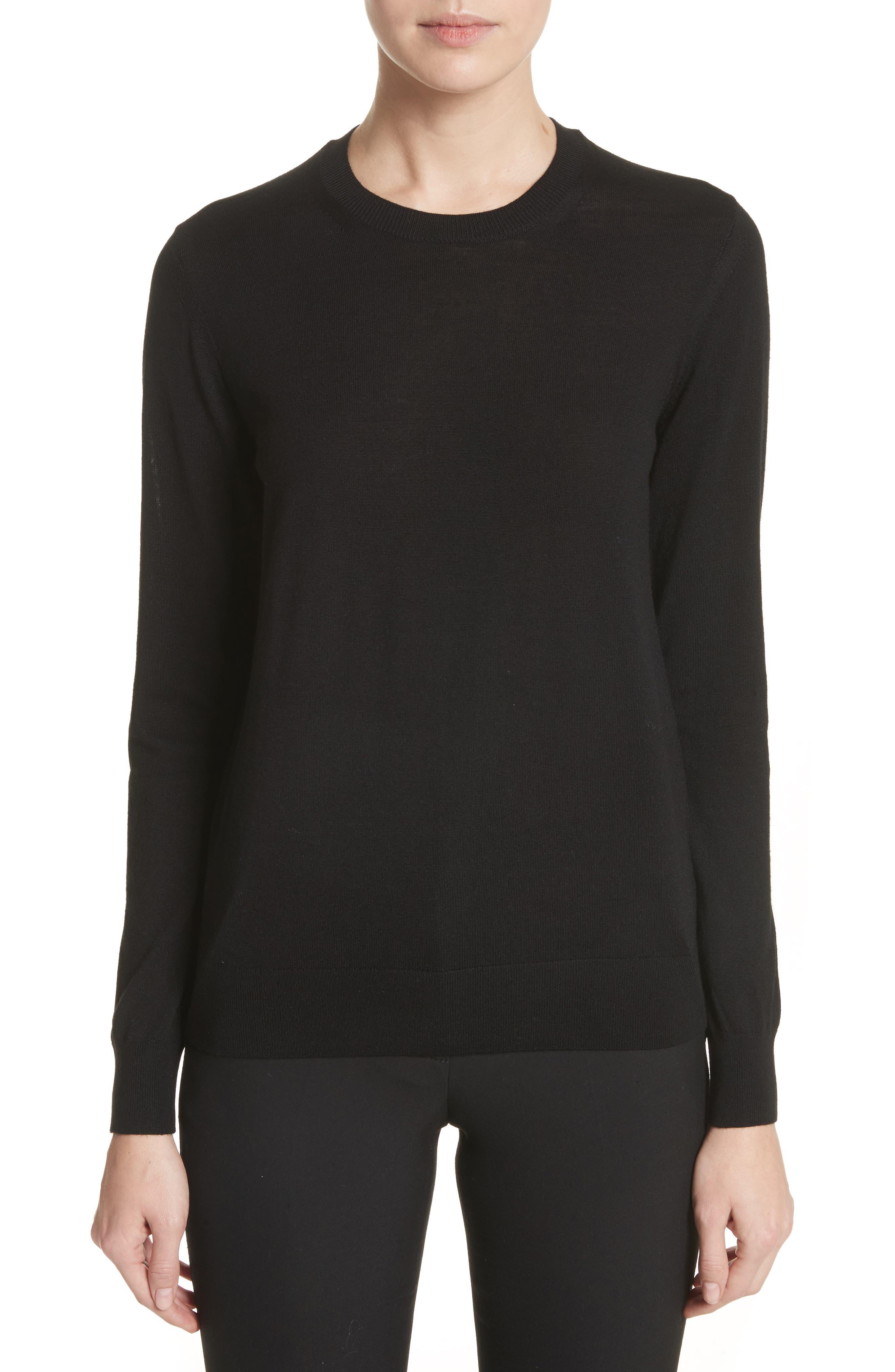 BURBERRY,                             Viar Merino Wool Sweater,                             Main thumbnail 1, color,                             001